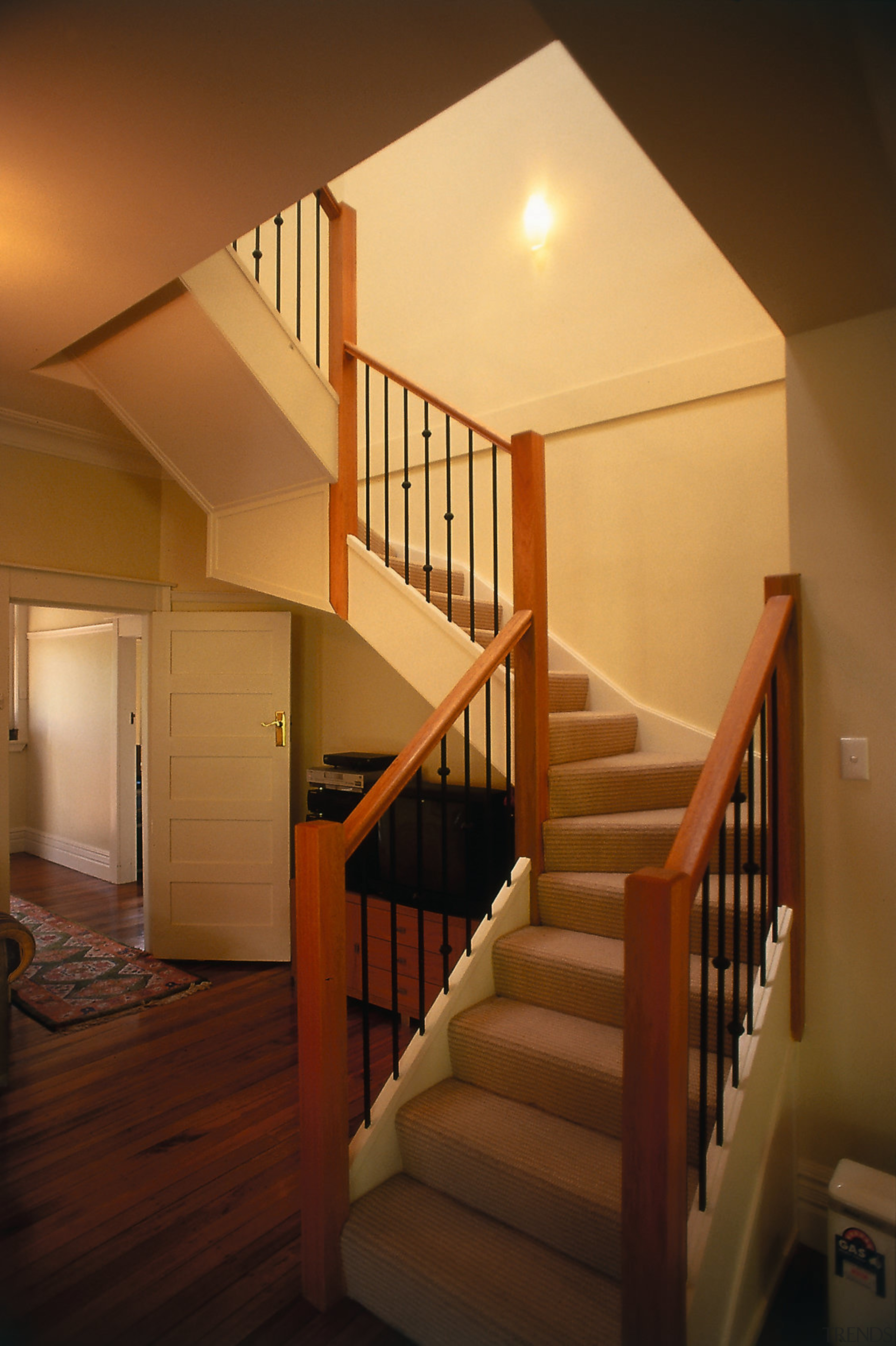 view fo stairway - view fo stairway - architecture, baluster, ceiling, daylighting, estate, floor, flooring, handrail, hardwood, home, house, interior design, lighting, property, real estate, stairs, wall, wood, wood flooring, wood stain, brown, orange
