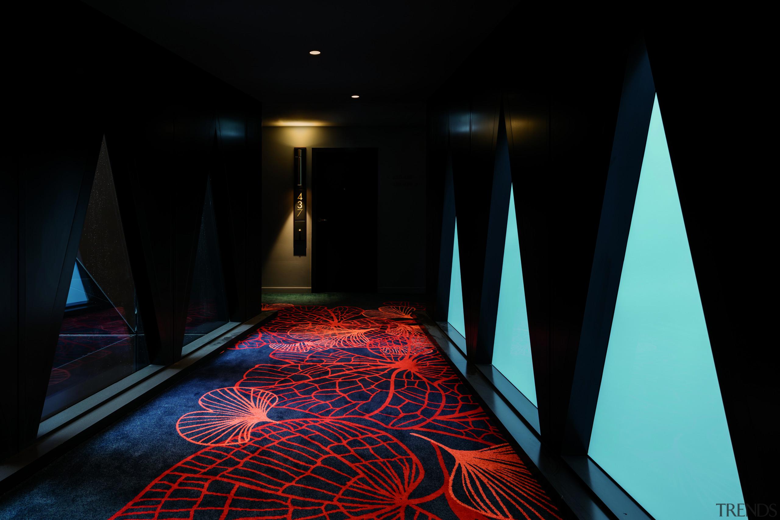 At Sydney's West Hotel, custom woven carpets evoke architecture, darkness, light, lighting, black