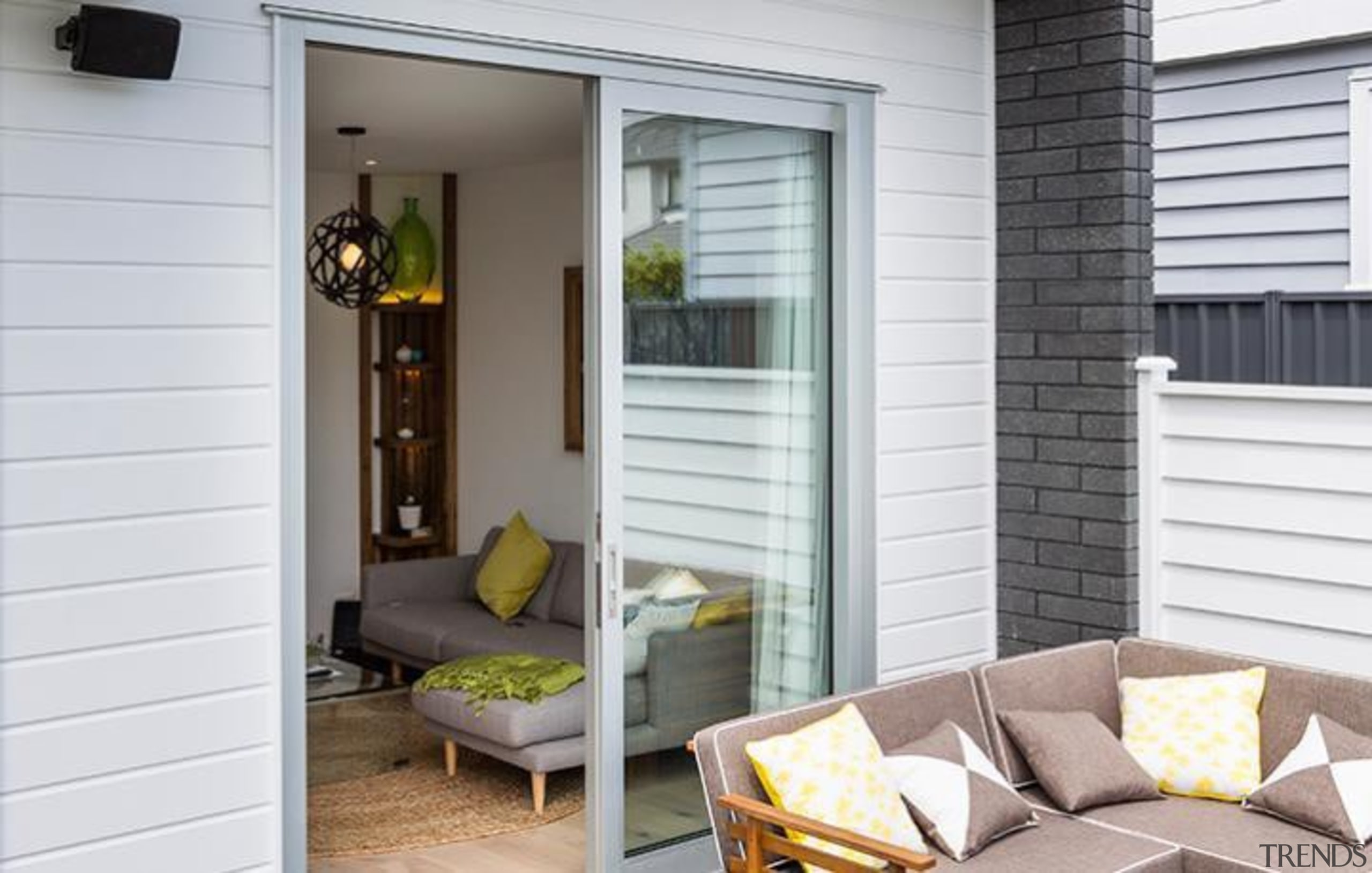 Simpler. Faster. Proven Weathertight. - A-lign Concealed Fix door, home, house, interior design, porch, shade, siding, window, window covering, window treatment, gray, white