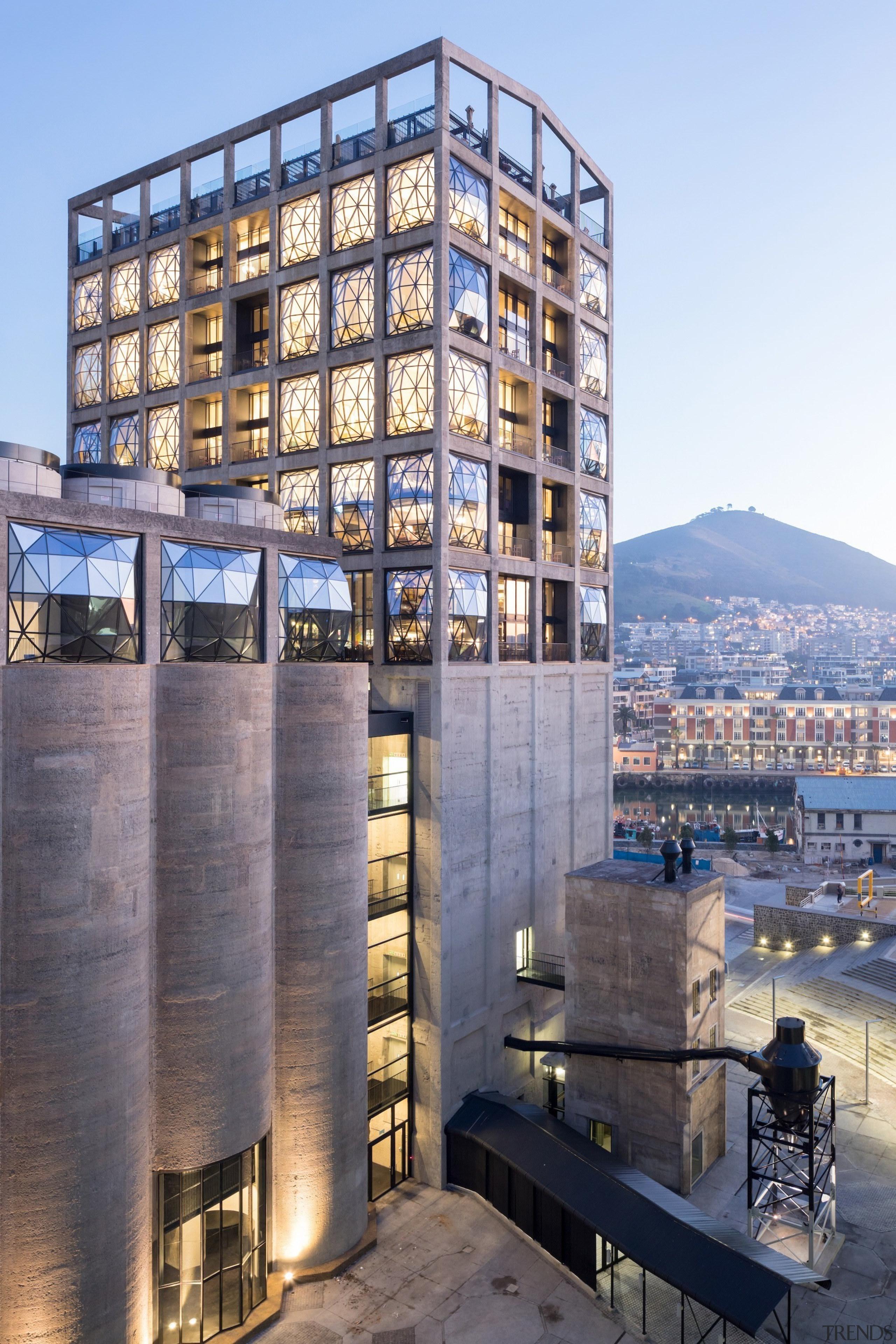 The Zeitz Museum of Contemporary Art Africa (Zeitz apartment, architecture, building, city, condominium, facade, metropolis, mixed use, real estate, sky, tower block, gray, teal