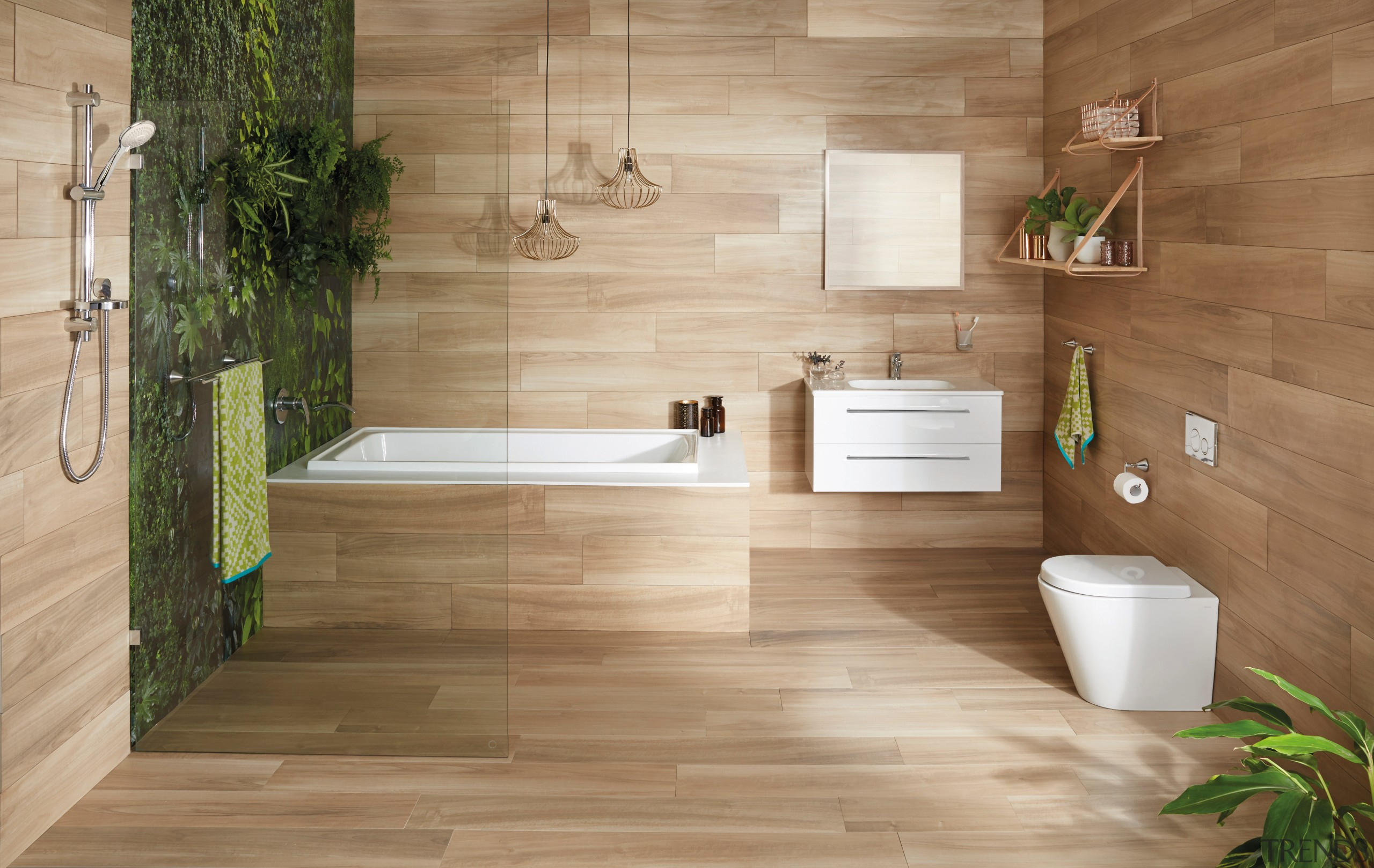 Wood is an increasingly popular look in todays bathroom, floor, flooring, hardwood, interior design, laminate flooring, tile, wall, wood, wood flooring, brown, orange