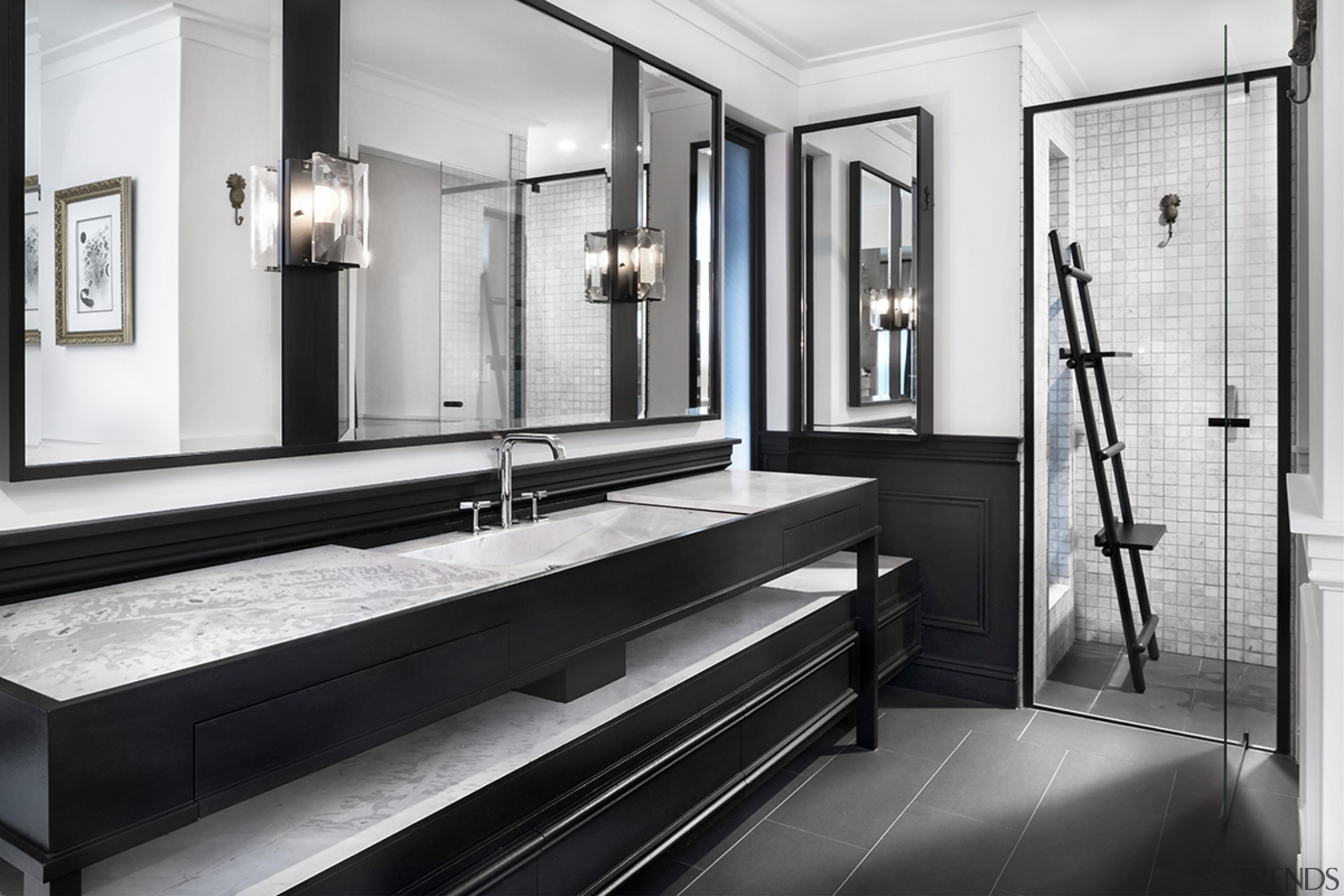Read the full story architecture, bathroom, black-and-white, building, ceiling, floor, furniture, house, interior design, property, room, white, black