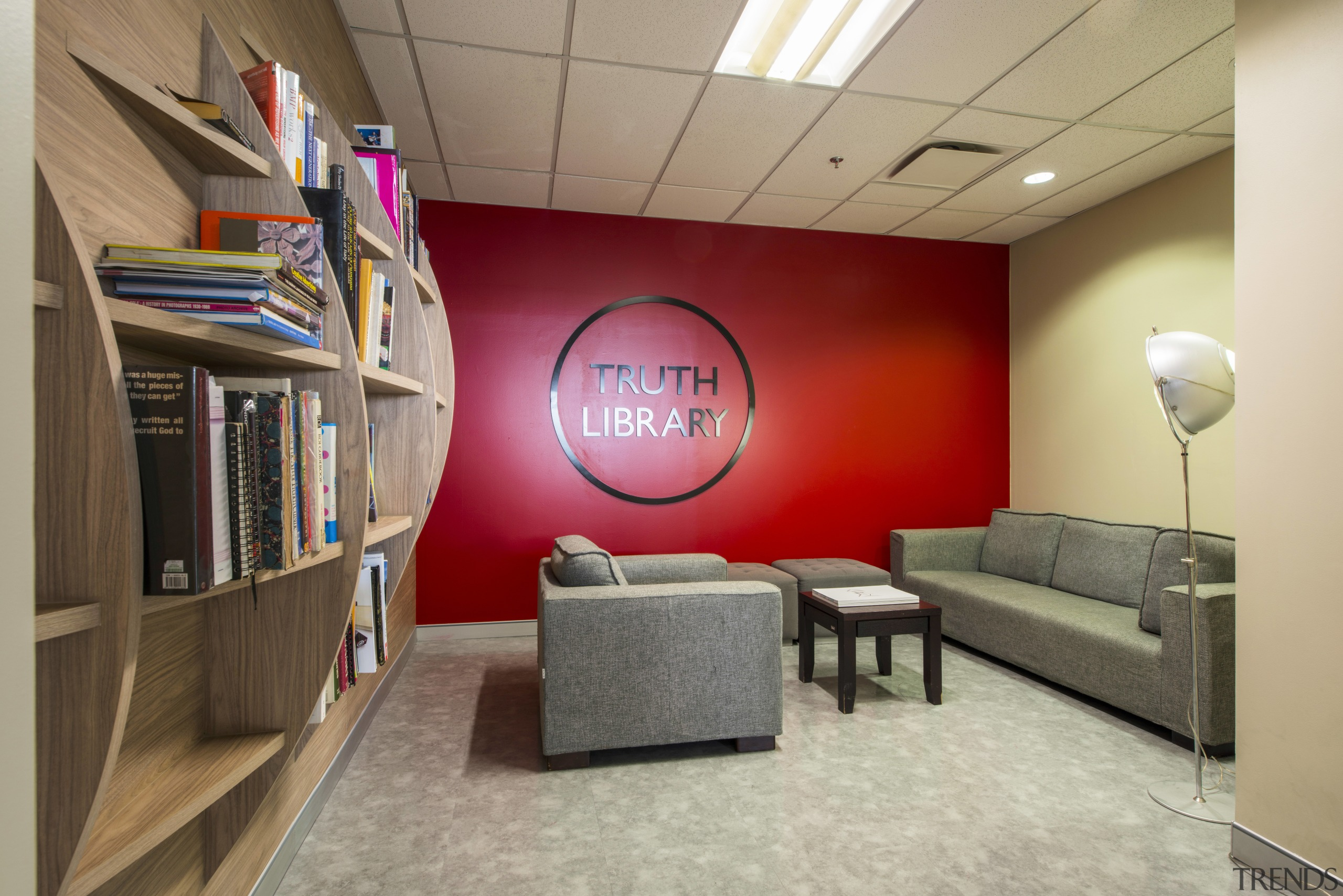The credo of creative agency McCann Worldgroup is ceiling, furniture, interior design, room, gray, brown