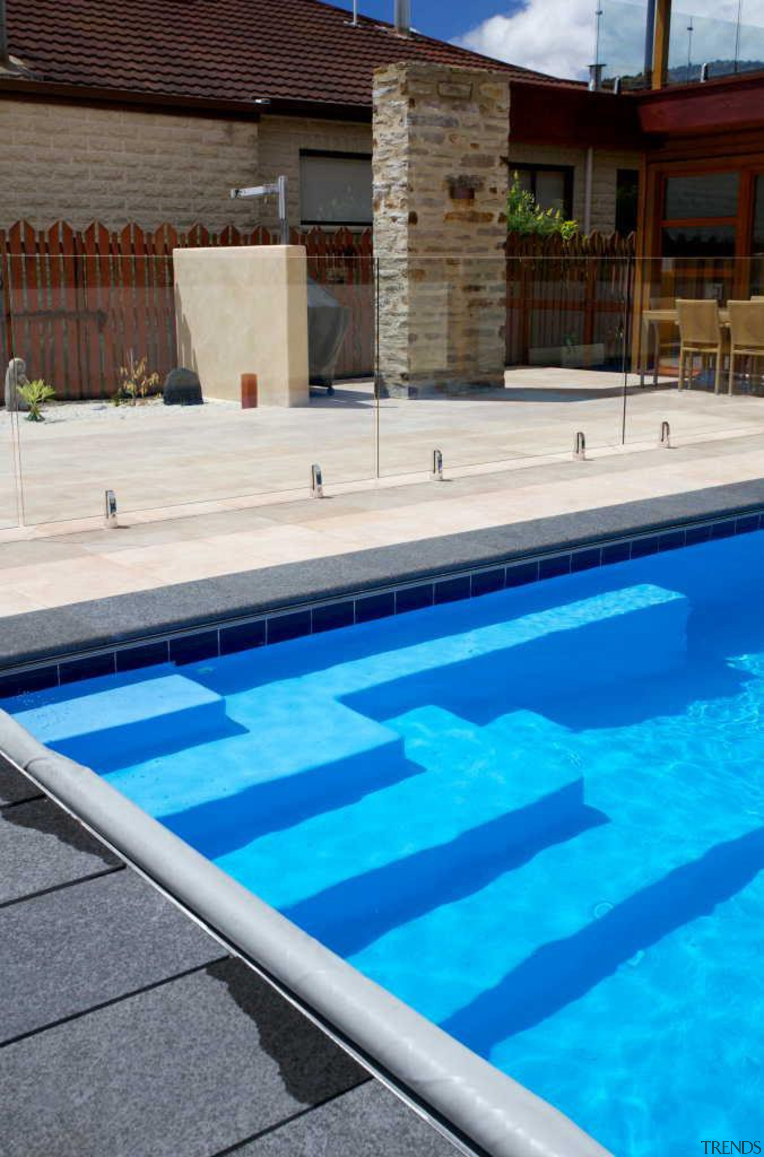 This pool by Mayfair Pools laps against the leisure, leisure centre, pool, swimming pool, water, teal