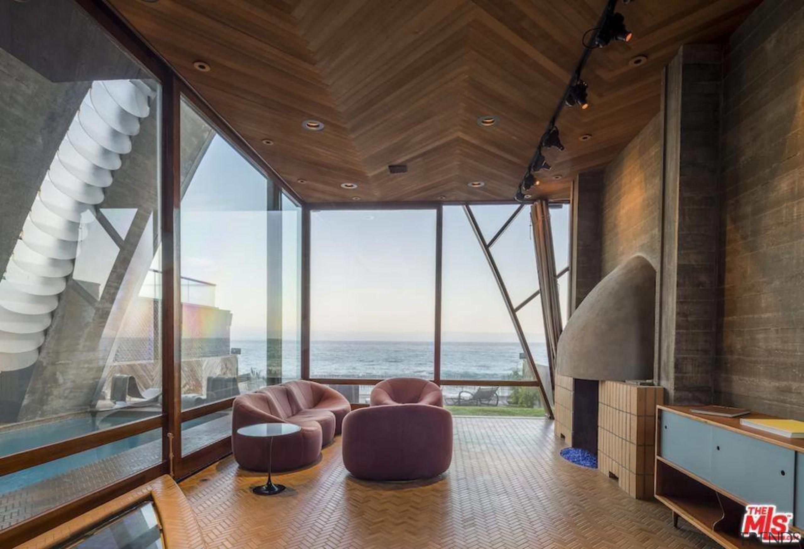 Edward Norton's new Malibu Colony home – Trulia architecture, ceiling, house, interior design, real estate, window, wood, brown, gray