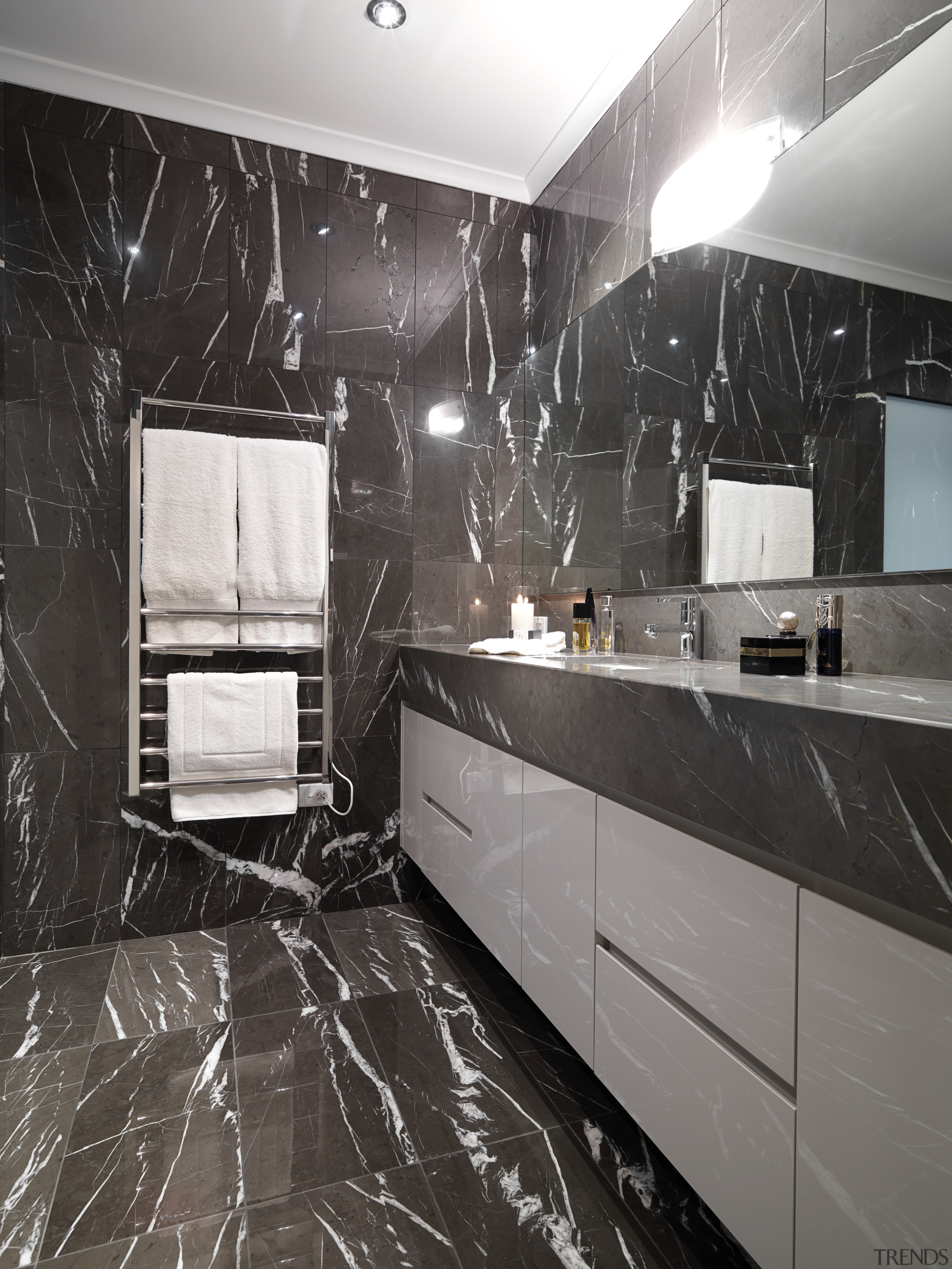 View of bathroom which features chocolate-coloured marble floor bathroom, ceiling, countertop, floor, flooring, interior design, kitchen, room, tile, wall, black, gray