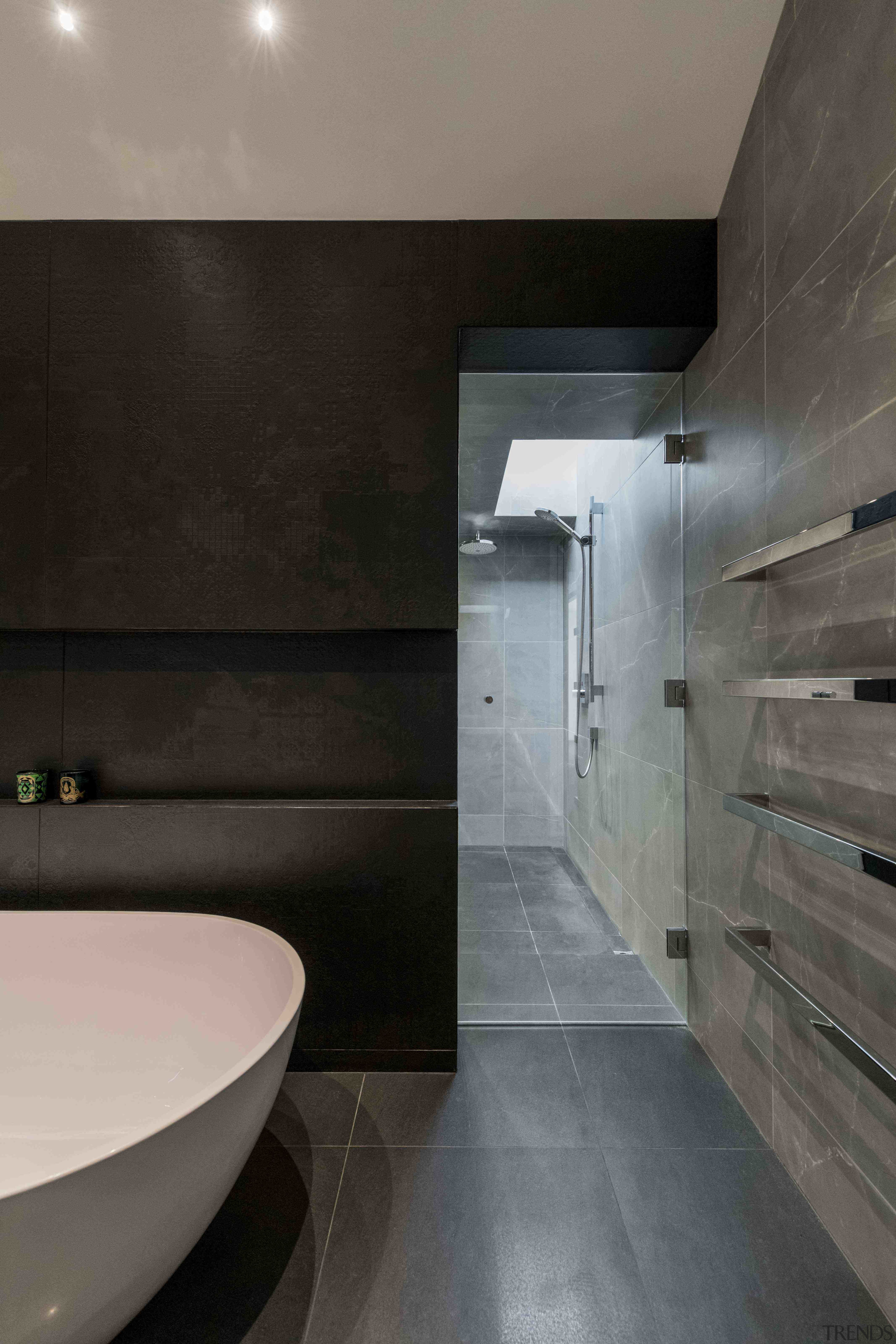 Bespoke cabinetry and spa-like bathing spaces for luxury architecture, bathroom, building, ceiling, floor, flooring, furniture, home, house, interior design, material property, plumbing fixture, property, real estate, room, tap, tile, wall, gray, black
