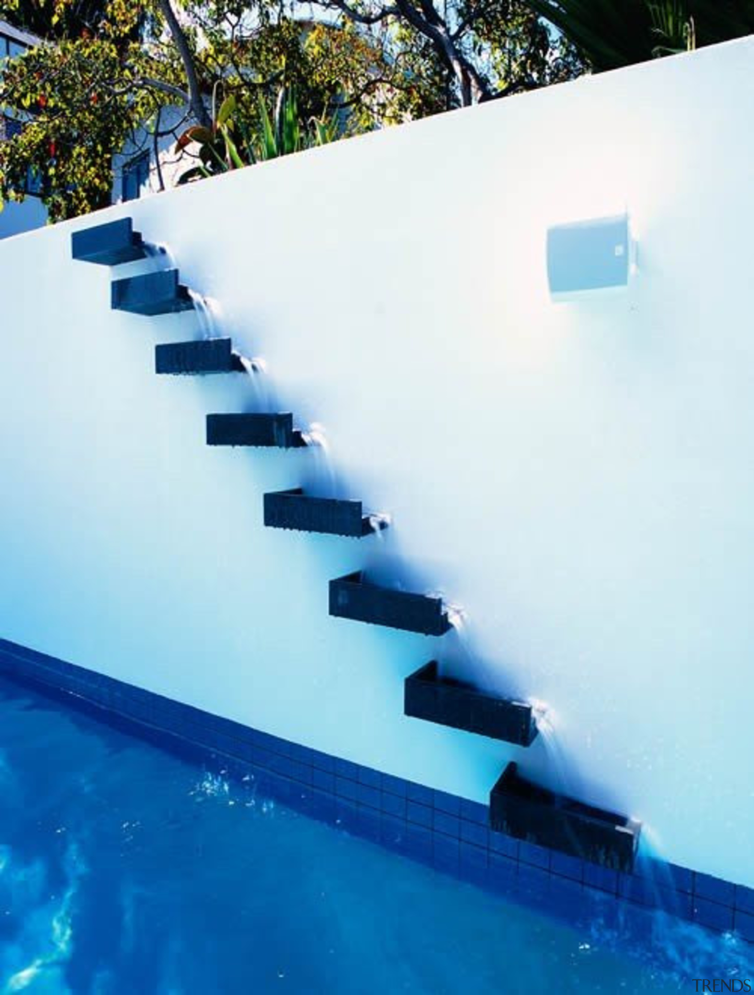 Waterfall - blue | reflection | sky | blue, reflection, sky, swimming pool, water, white, blue