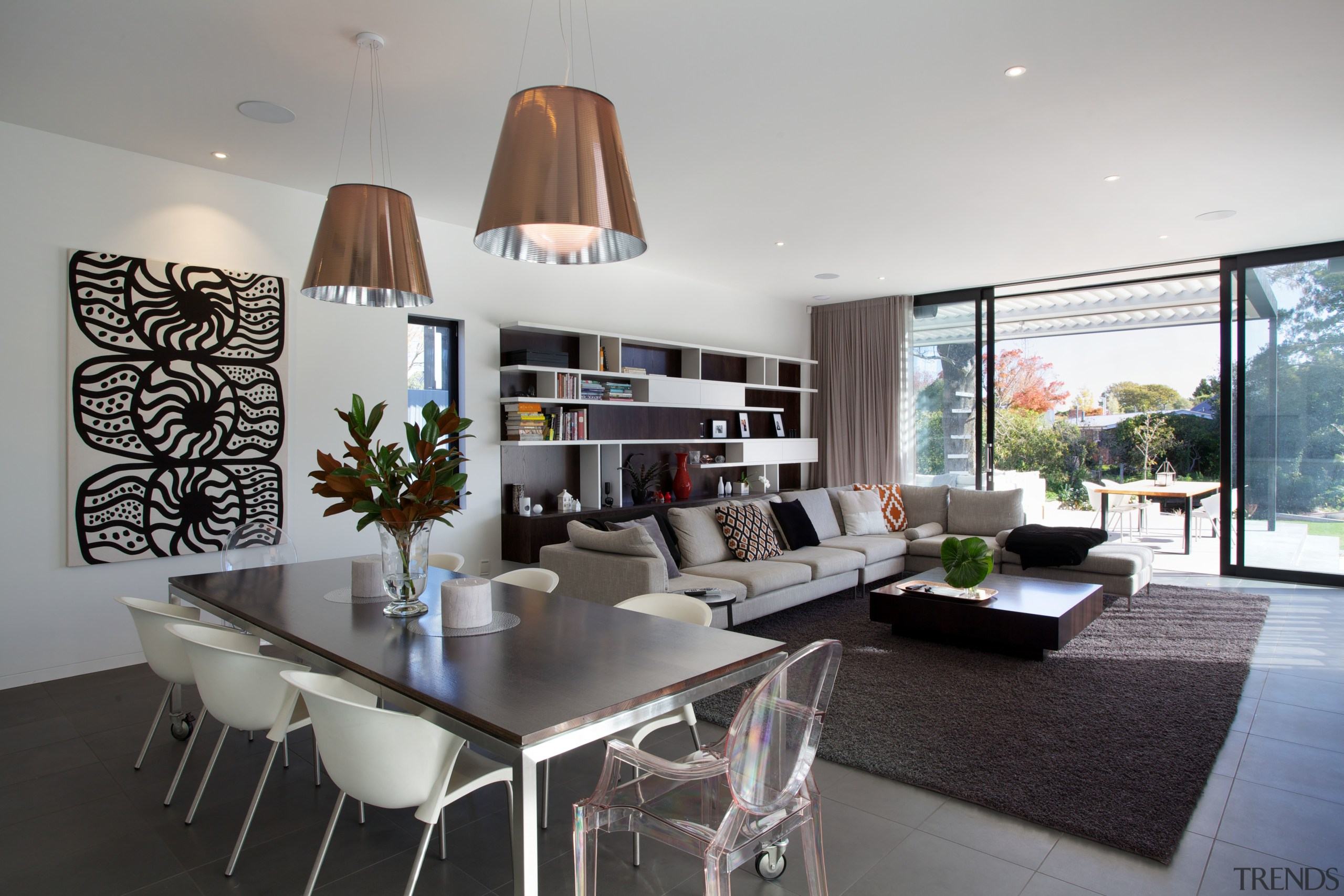 This family living area is in a new ceiling, house, interior design, living room, real estate, room, table, gray