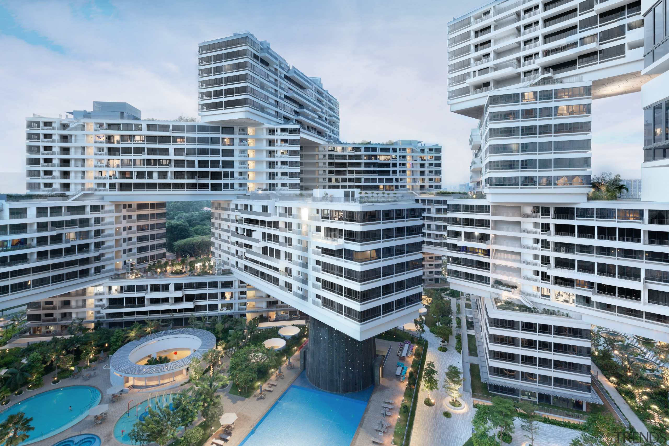 Each of the eight large courtyards  in apartment, architecture, building, city, commercial building, condominium, corporate headquarters, metropolis, metropolitan area, mixed use, property, real estate, residential area, tower block, urban area, urban design, white