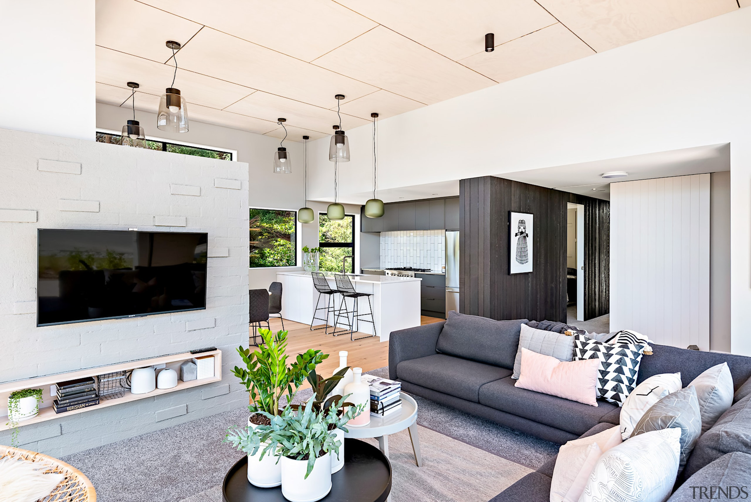 The home's contemporary styling – with a mix