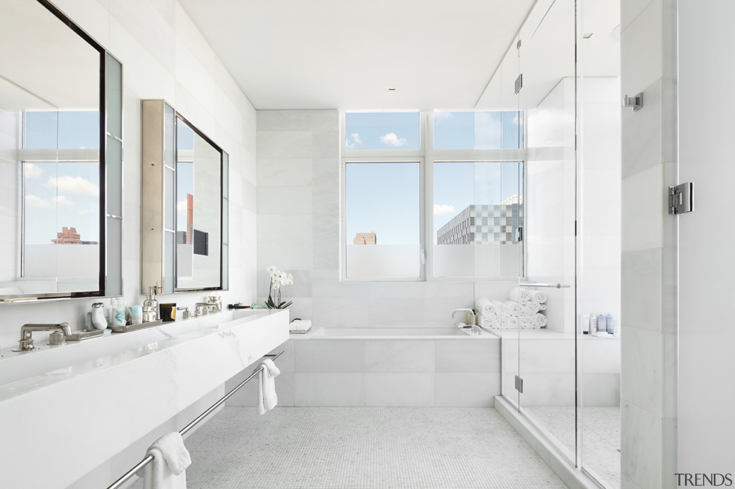 The bathroom in Jennifer Lawrence's for sale penthouse white