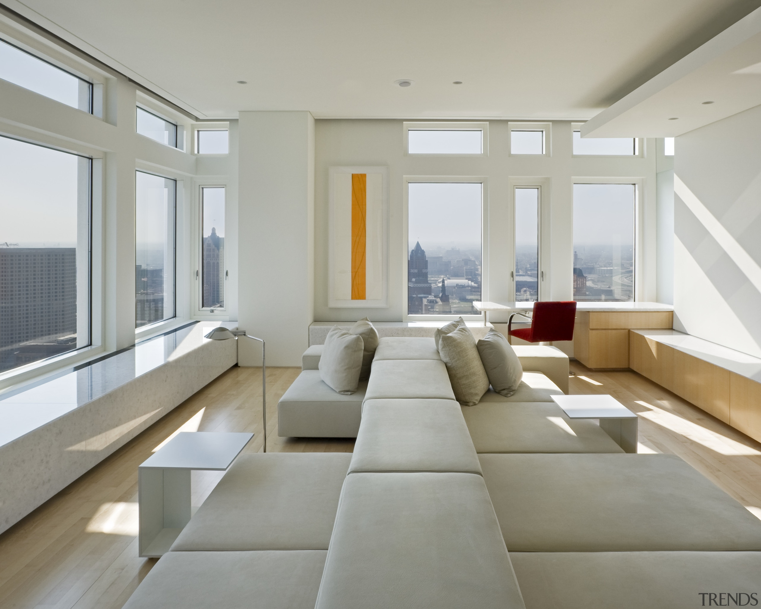 View of penthouse with white walls and a architecture, ceiling, daylighting, floor, house, interior design, living room, real estate, window, gray