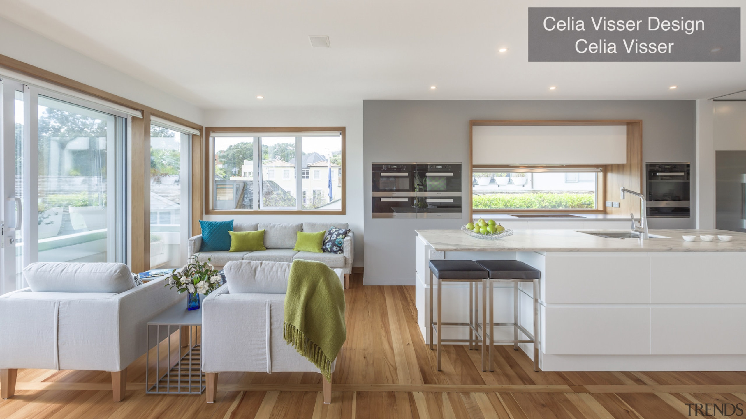 Highly Commended – Celia Visser Design – TIDA countertop, floor, home, interior design, kitchen, living room, real estate, window, gray