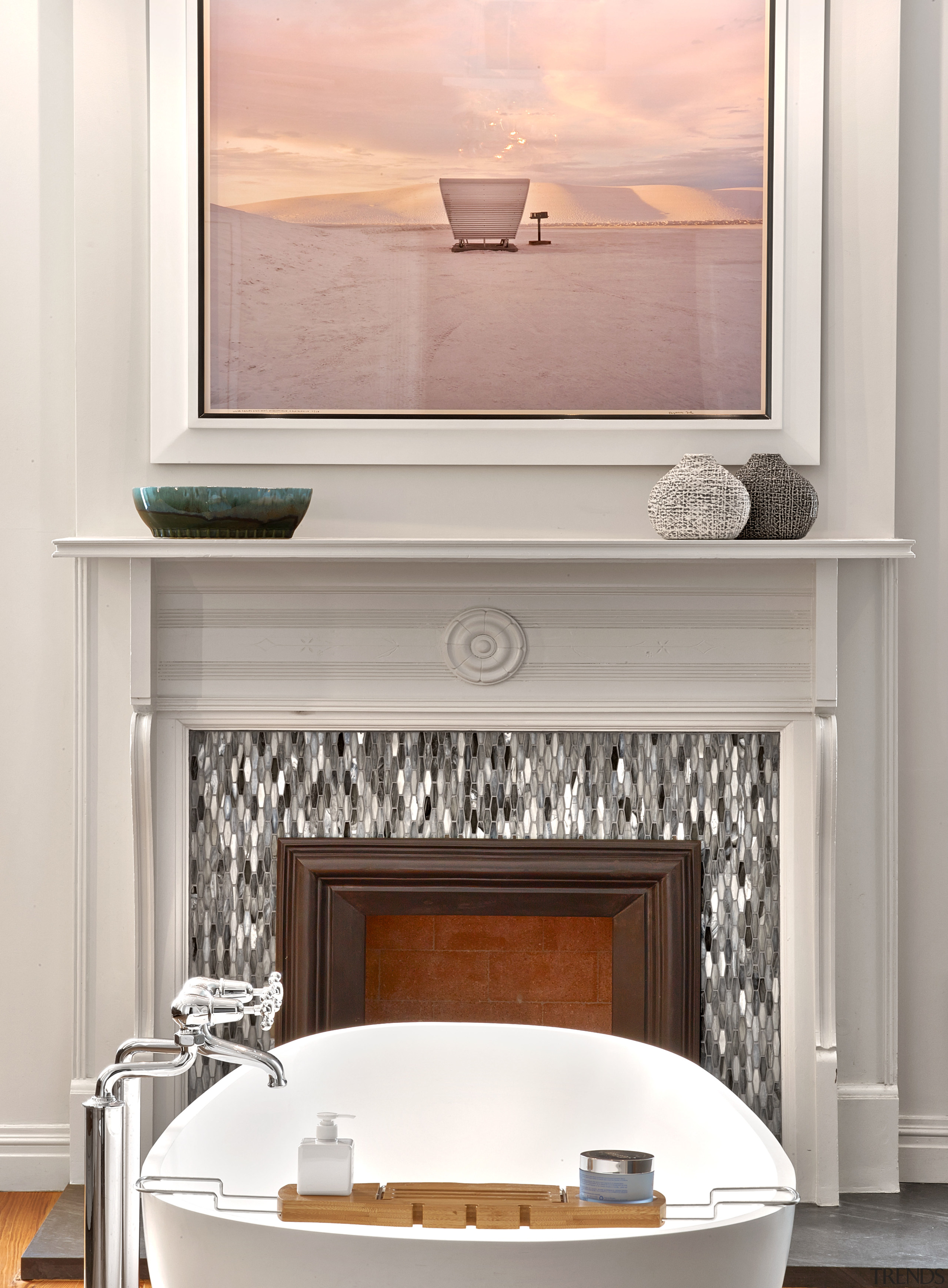 In this master bathroom, the white, soft grey furniture, home, interior design, table, white