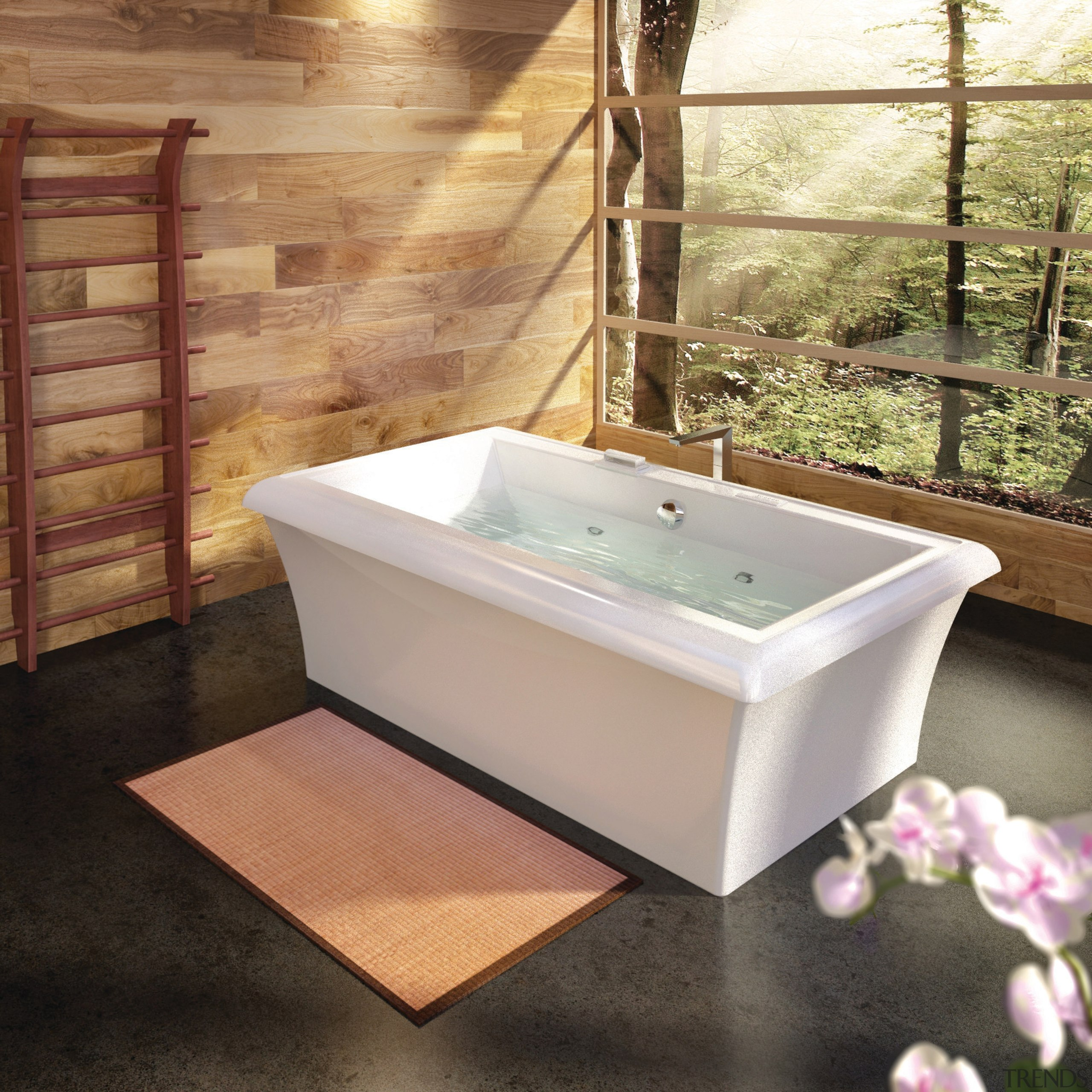 Although the Origami reflects a distinctive Japanese design bathroom, bathtub, floor, plumbing fixture