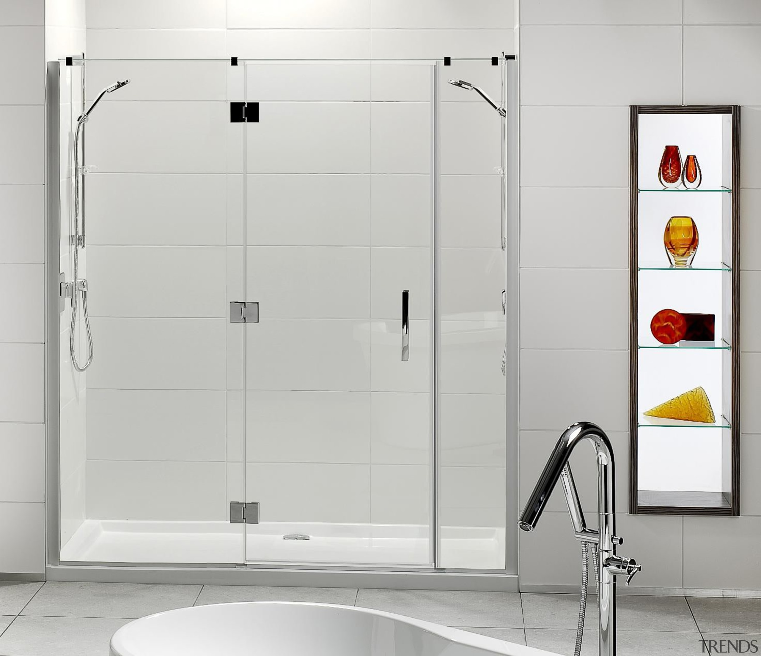 Designed specifically for modern New Zealand bathrooms, the angle, bathroom, plumbing fixture, shower, shower door, tap, white