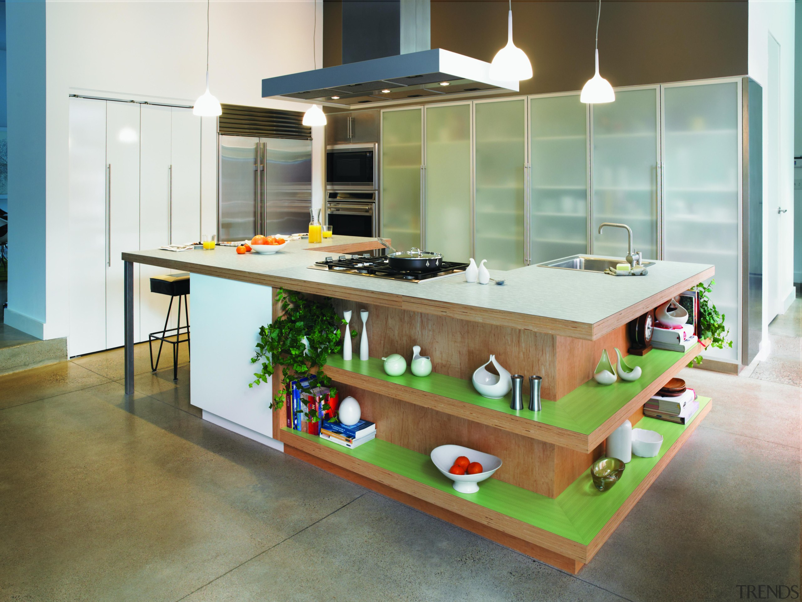 Featuring: Formica Mint Dotscreen,Formica Endless Greytone countertop, furniture, interior design, kitchen, table, white, brown