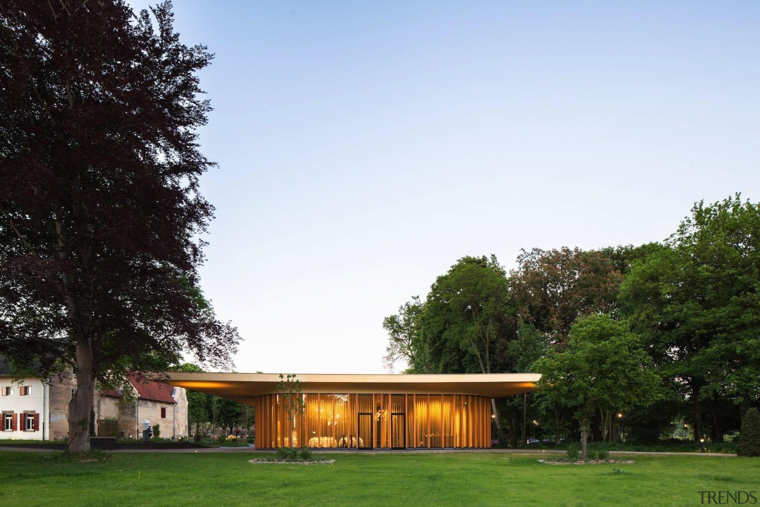Architect: Meccanoo architecture, cottage, estate, facade, farmhouse, grass, home, house, landscape, pavilion, property, real estate, residential area, roof, sky, tree, white