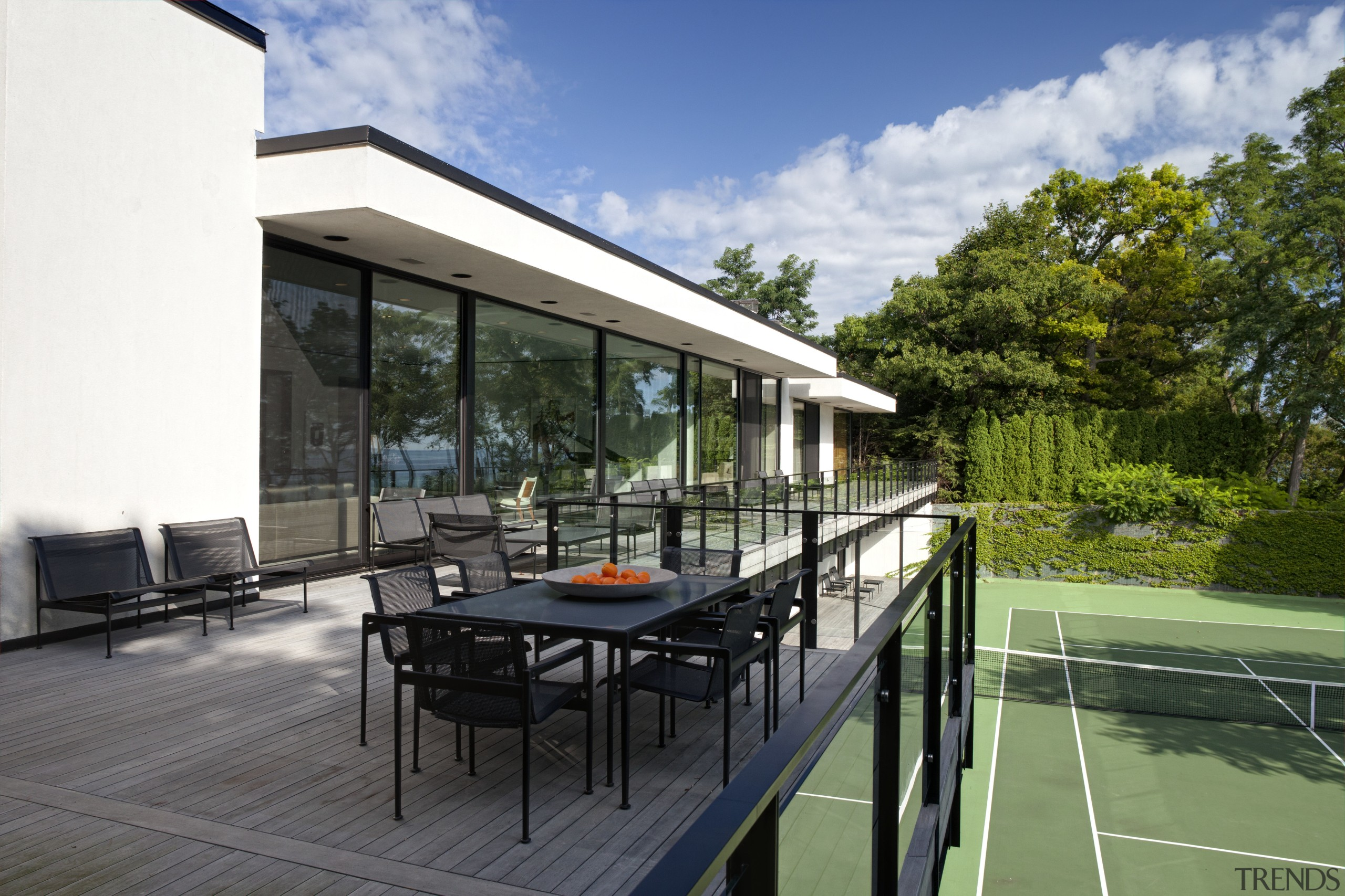 View of outdoor eating area and tennis court architecture, estate, house, outdoor structure, property, real estate, roof