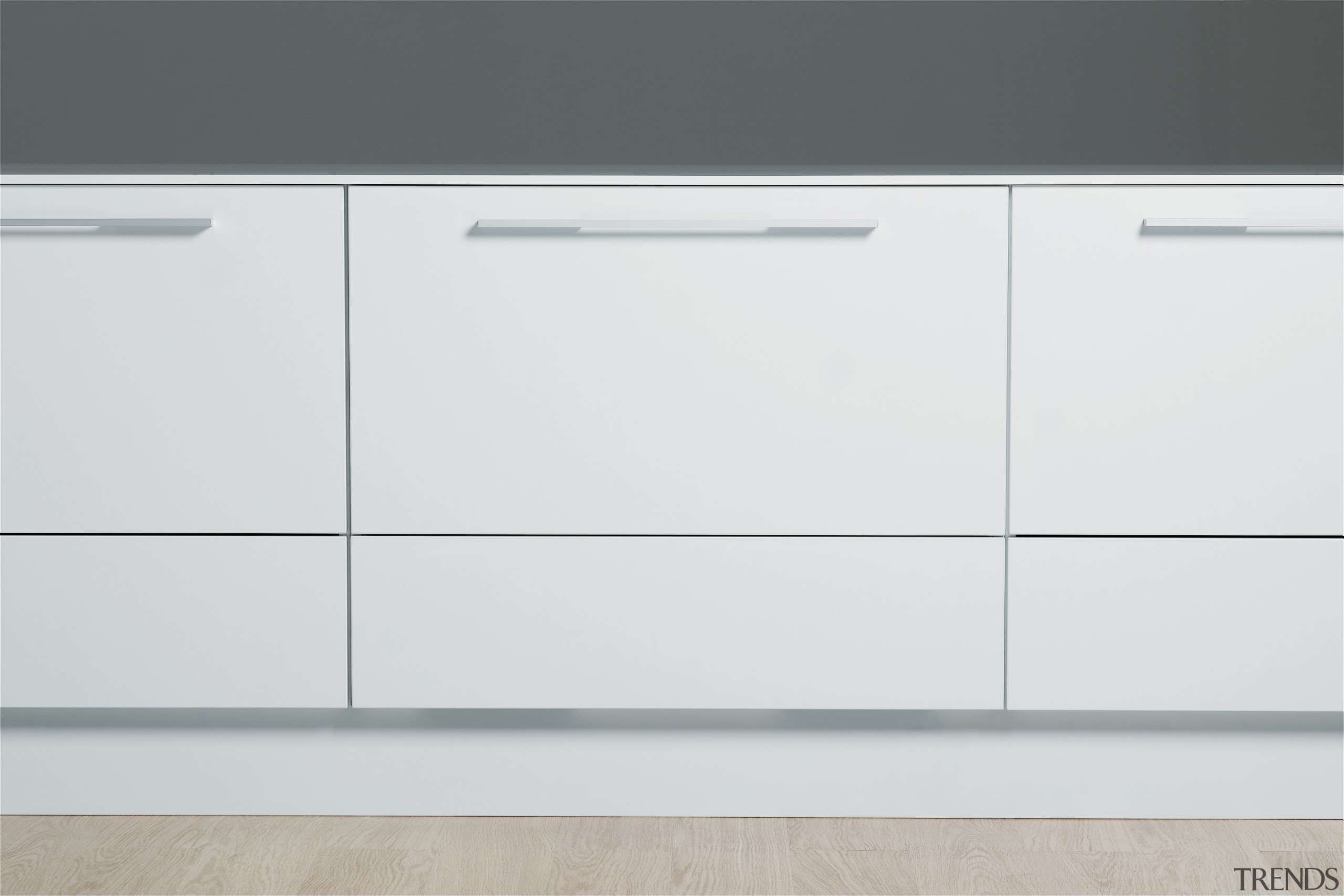 View of kitchen which features Fisher & Paykel's chest of drawers, drawer, furniture, product, product design, sideboard, white, gray