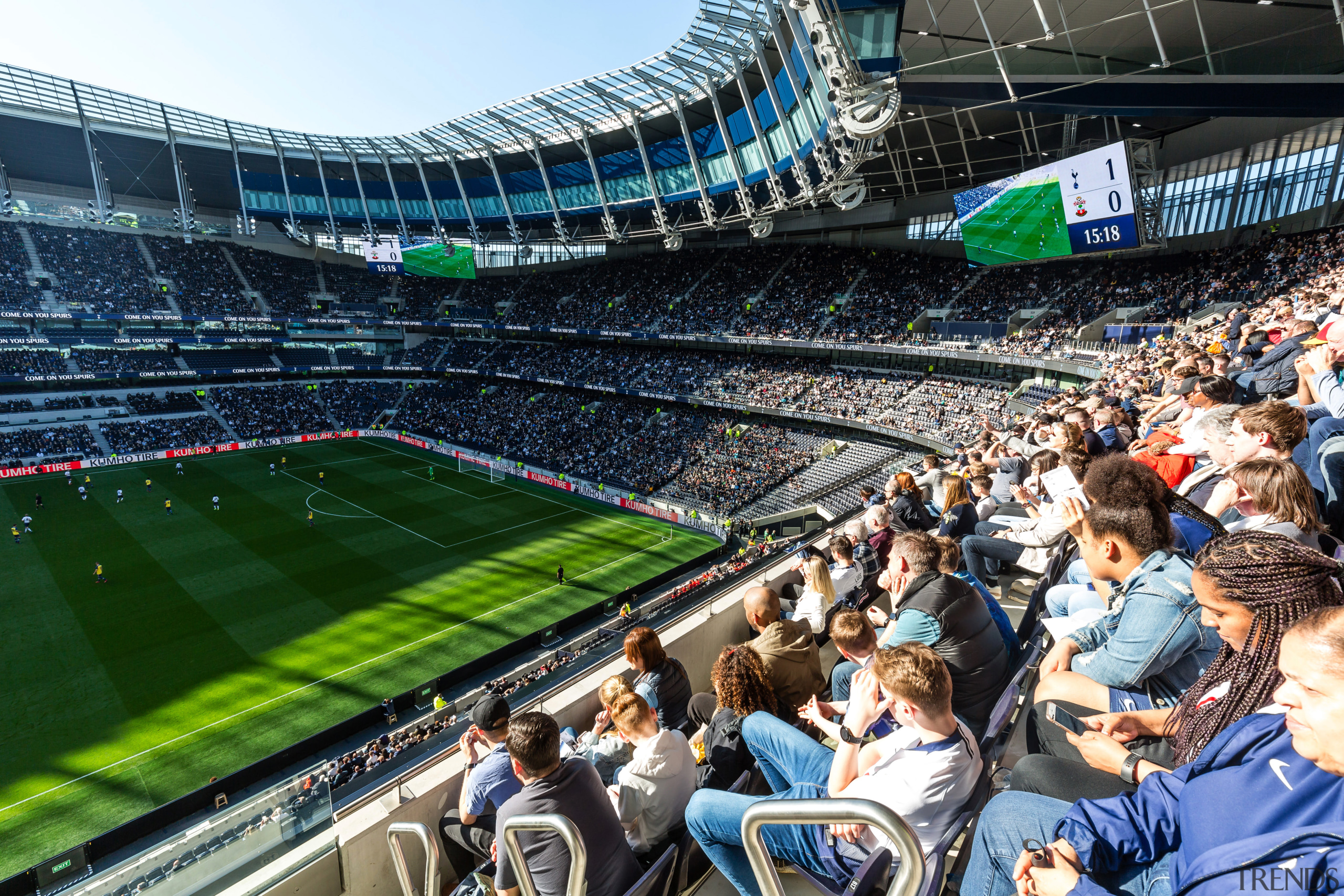 At the new Tottenham Hotspur stadium, this Premium architecture, arena, atmosphere, audience, ball game, championship, competition event, crowd, fan, grass, international rules football, leisure, people, player, product, soccer, soccer-specific stadium, sport venue, sports, stadium, team, team sport, black