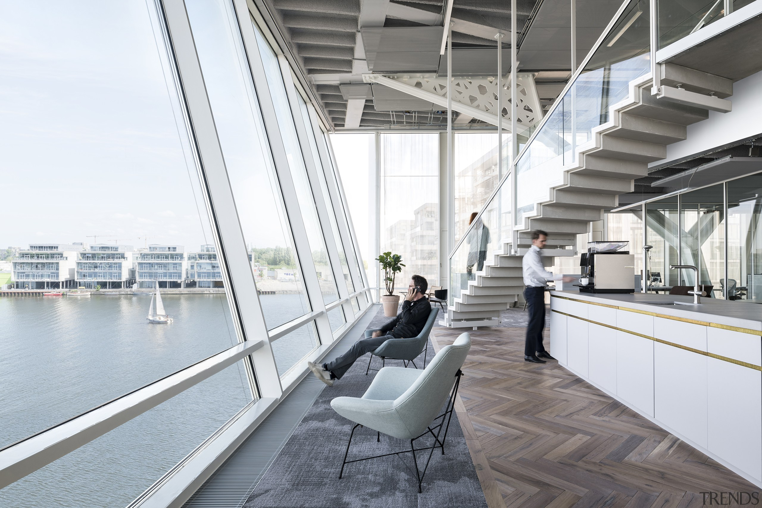 The harbour-facing facade of the developer's offices resembles architecture, building, daylighting, design, interior design, metropolitan area, white, gray