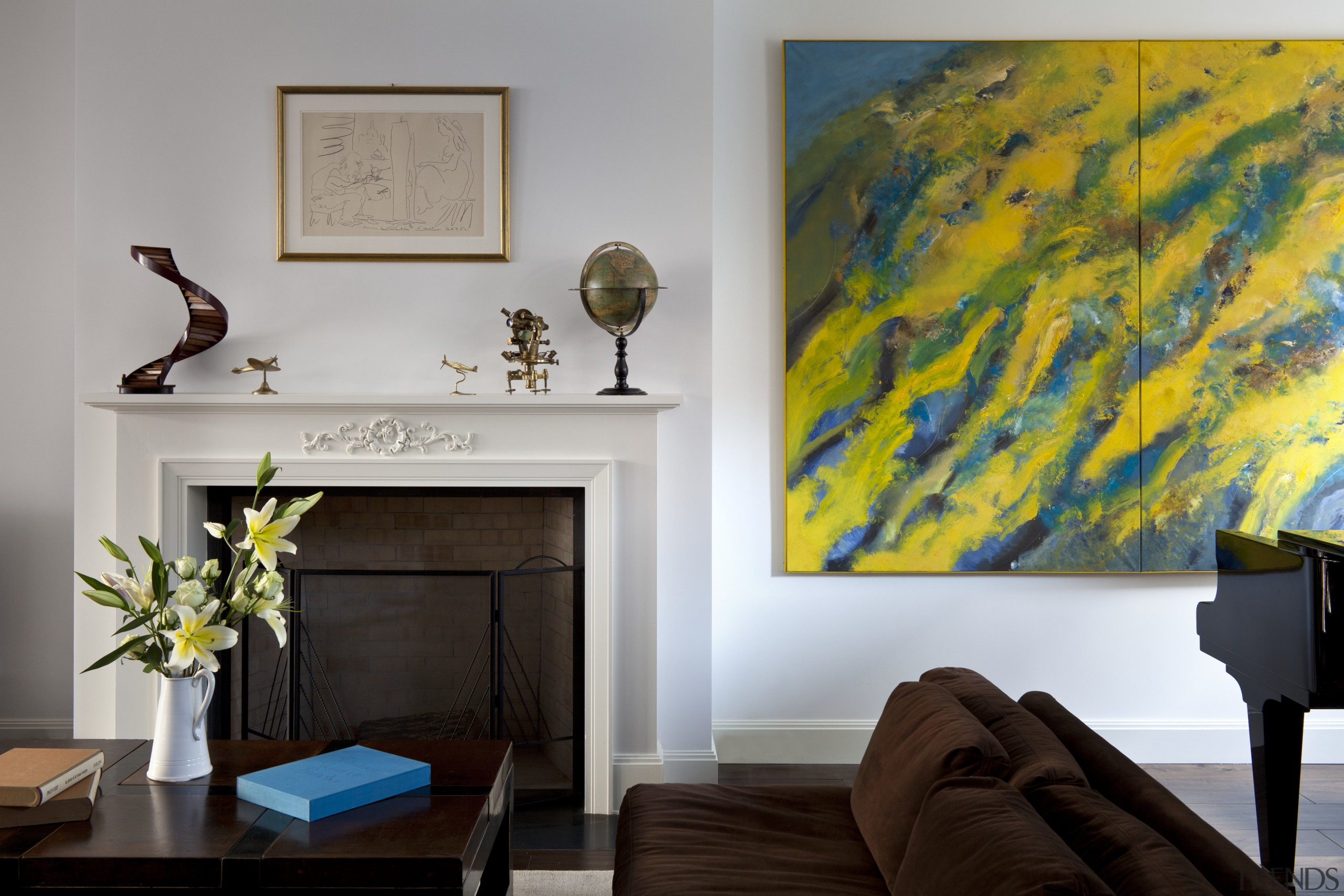 Main living area detail in Manhattan townhouse remodel ceiling, home, interior design, living room, modern art, room, table, wall, yellow, gray