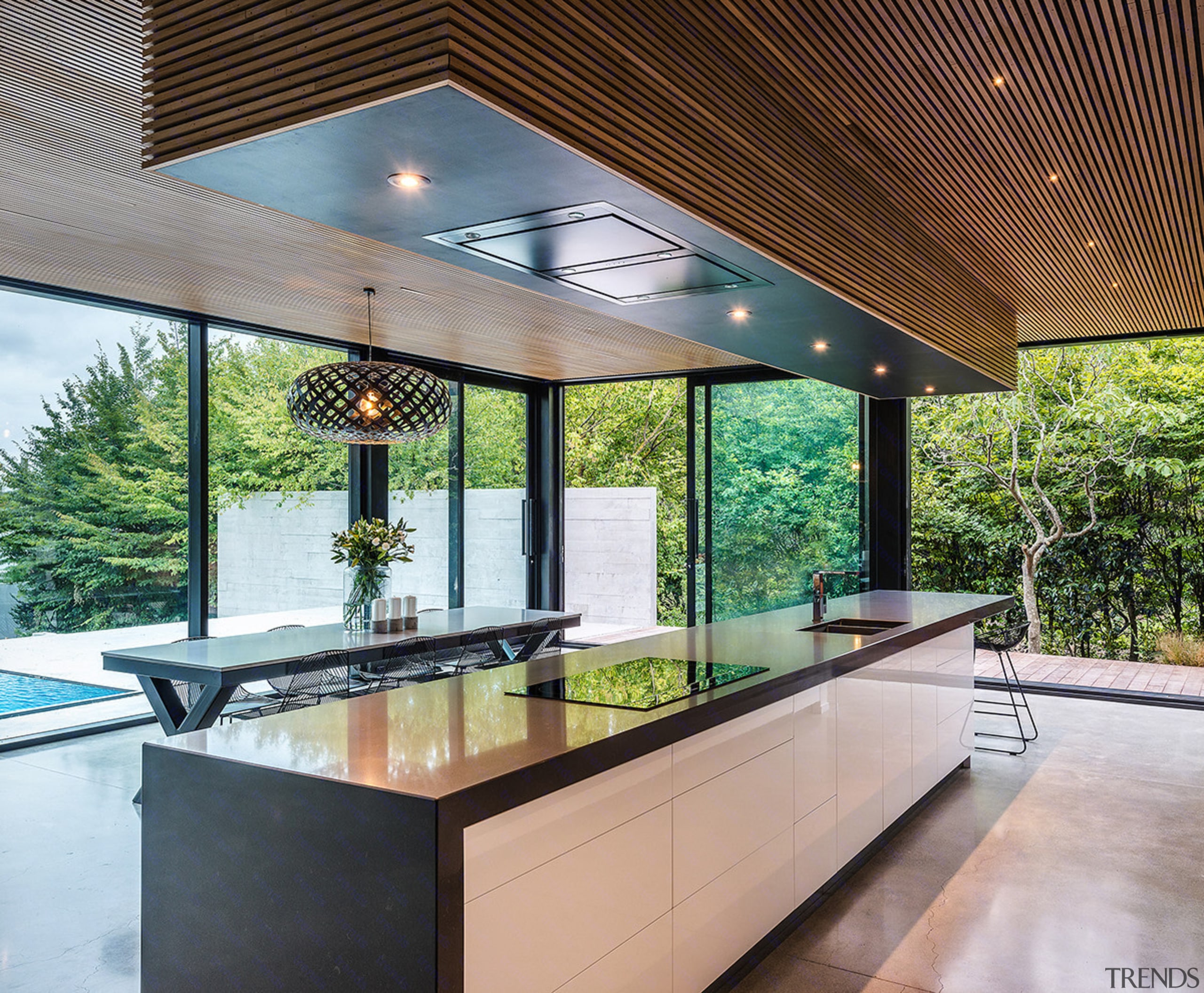 Trends Look Up A Feature Of This Living Room Is A Rimu Batten Ceiling With Black Negative