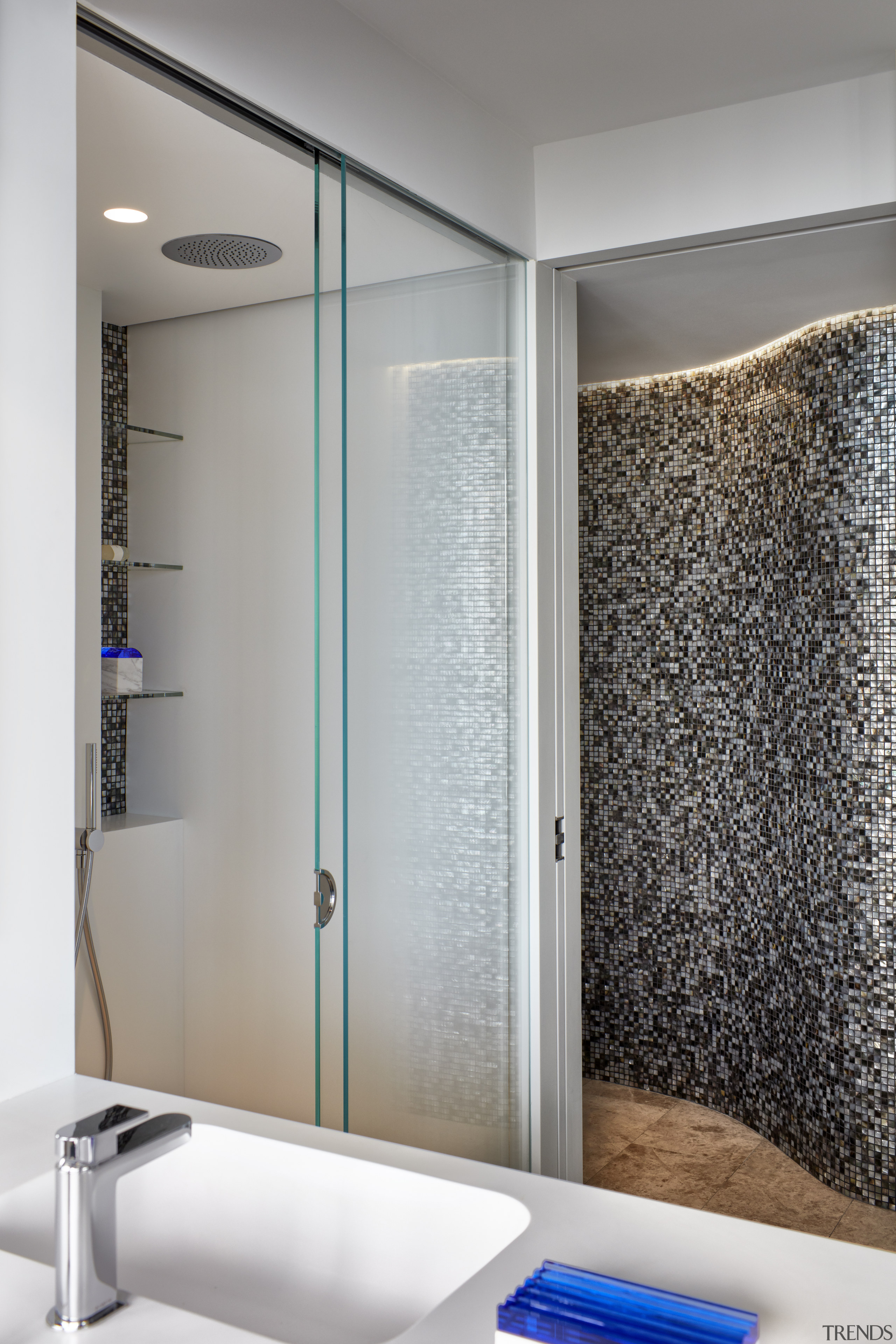 A curving wall of real Mother of Pearl architecture, bathroom, furniture, glass, house, interior design, plumbing fixture, shower, tile, wall, gray.Archer Design
