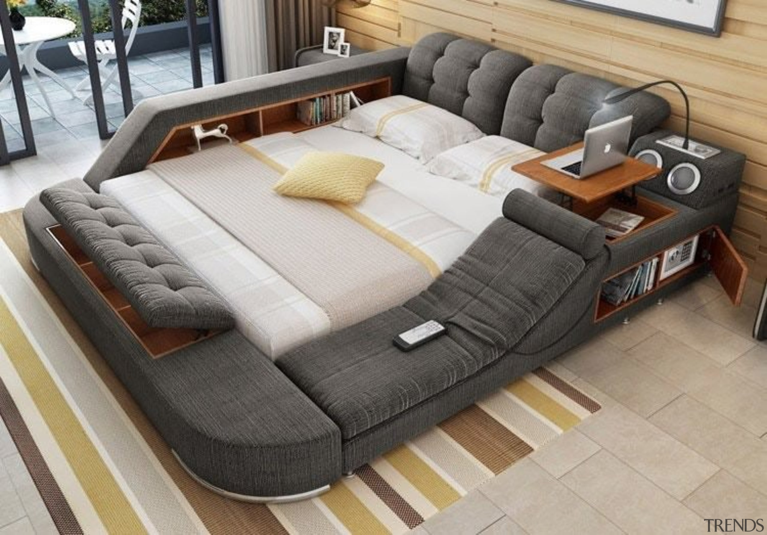 The perfect bed for people who never want bed, bed frame, couch, floor, flooring, furniture, mattress, product, product design, gray