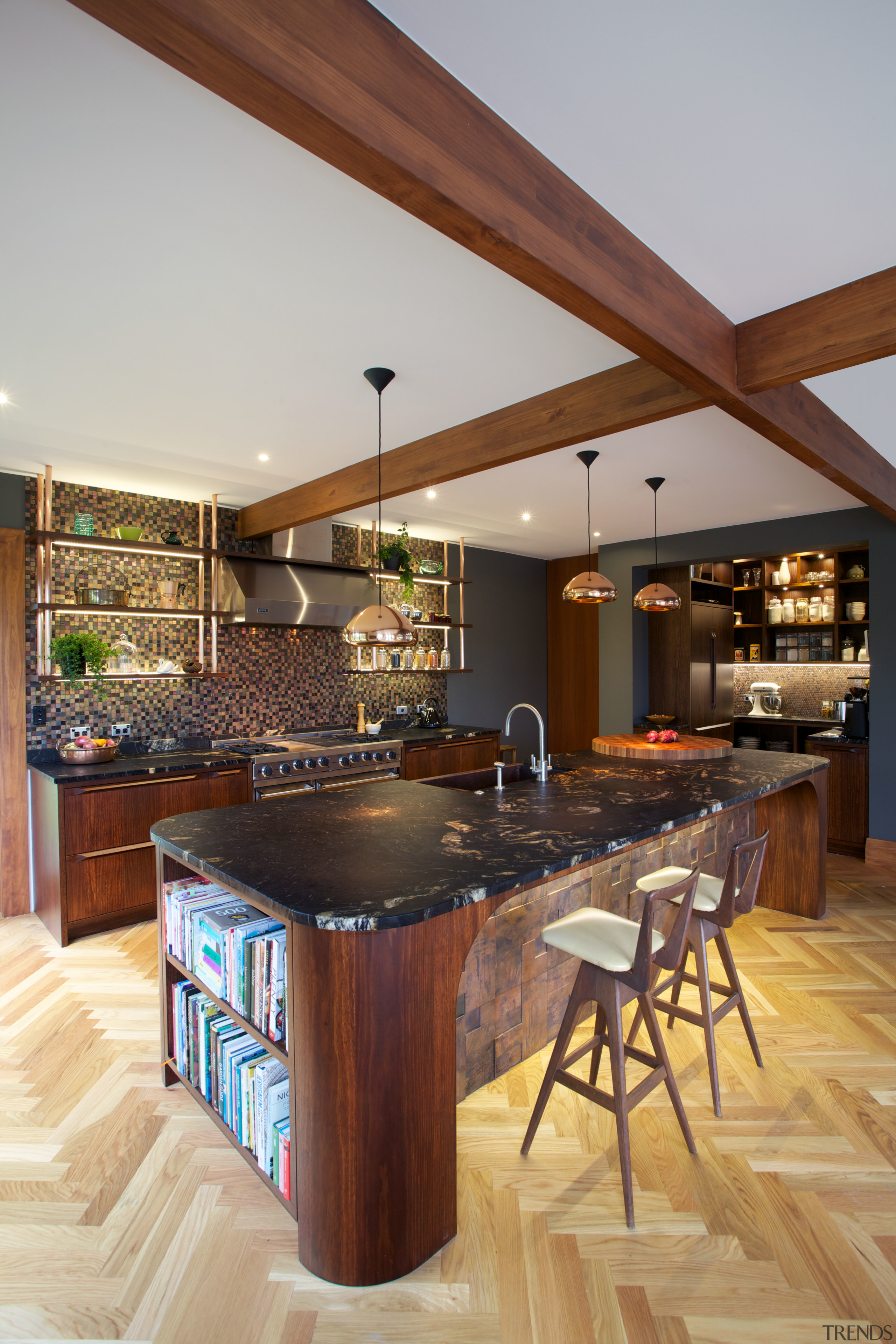 Kitchen in Desert Modern style with copper tiles, countertop, cuisine classique, hardwood, interior design, kitchen, real estate, wood, wood flooring, gray, brown