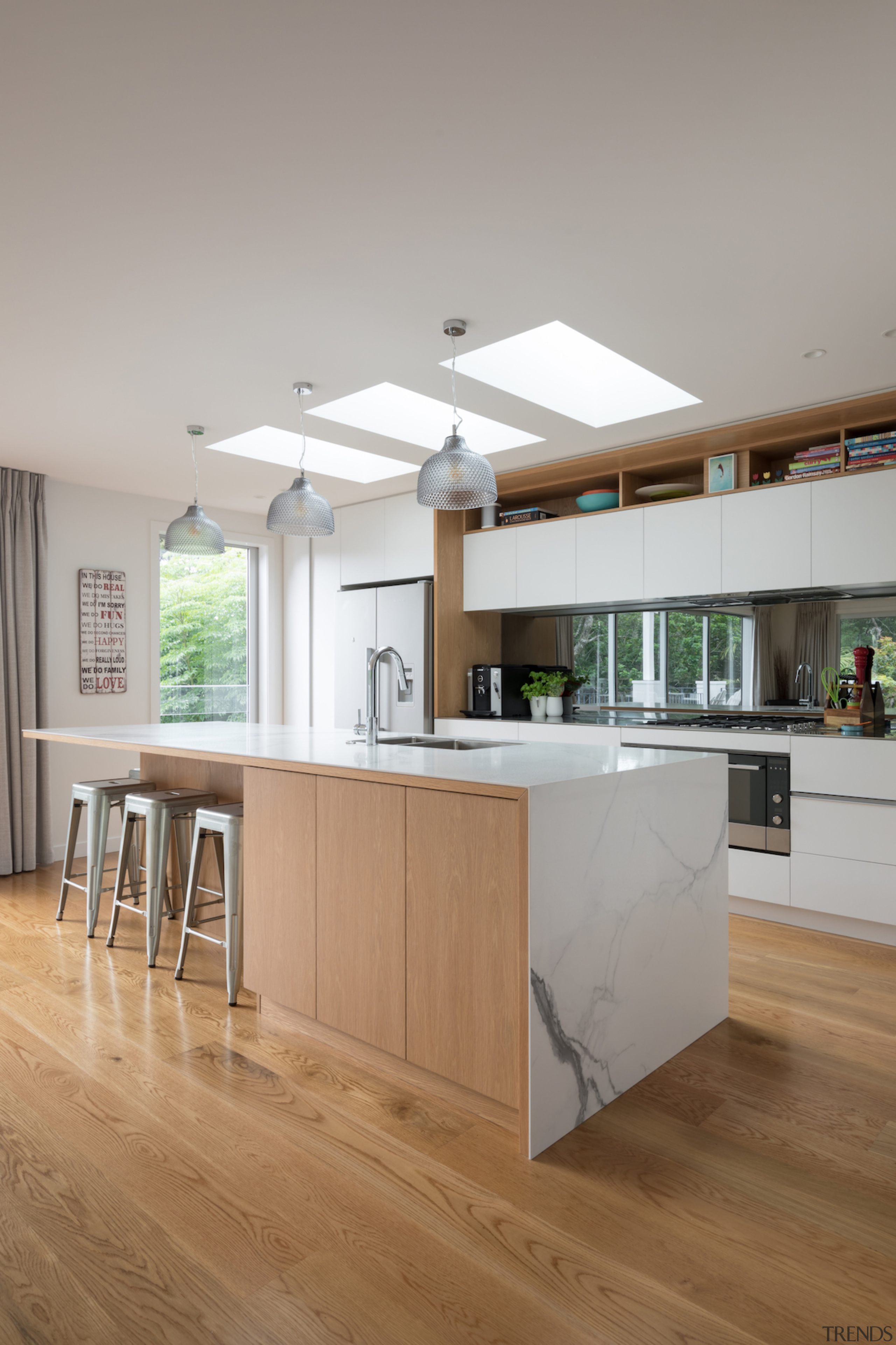 The brief was to renovate this family home architecture, cabinetry, ceiling, countertop, cuisine classique, daylighting, floor, flooring, hardwood, house, interior design, kitchen, laminate flooring, wood, wood flooring, gray, brown