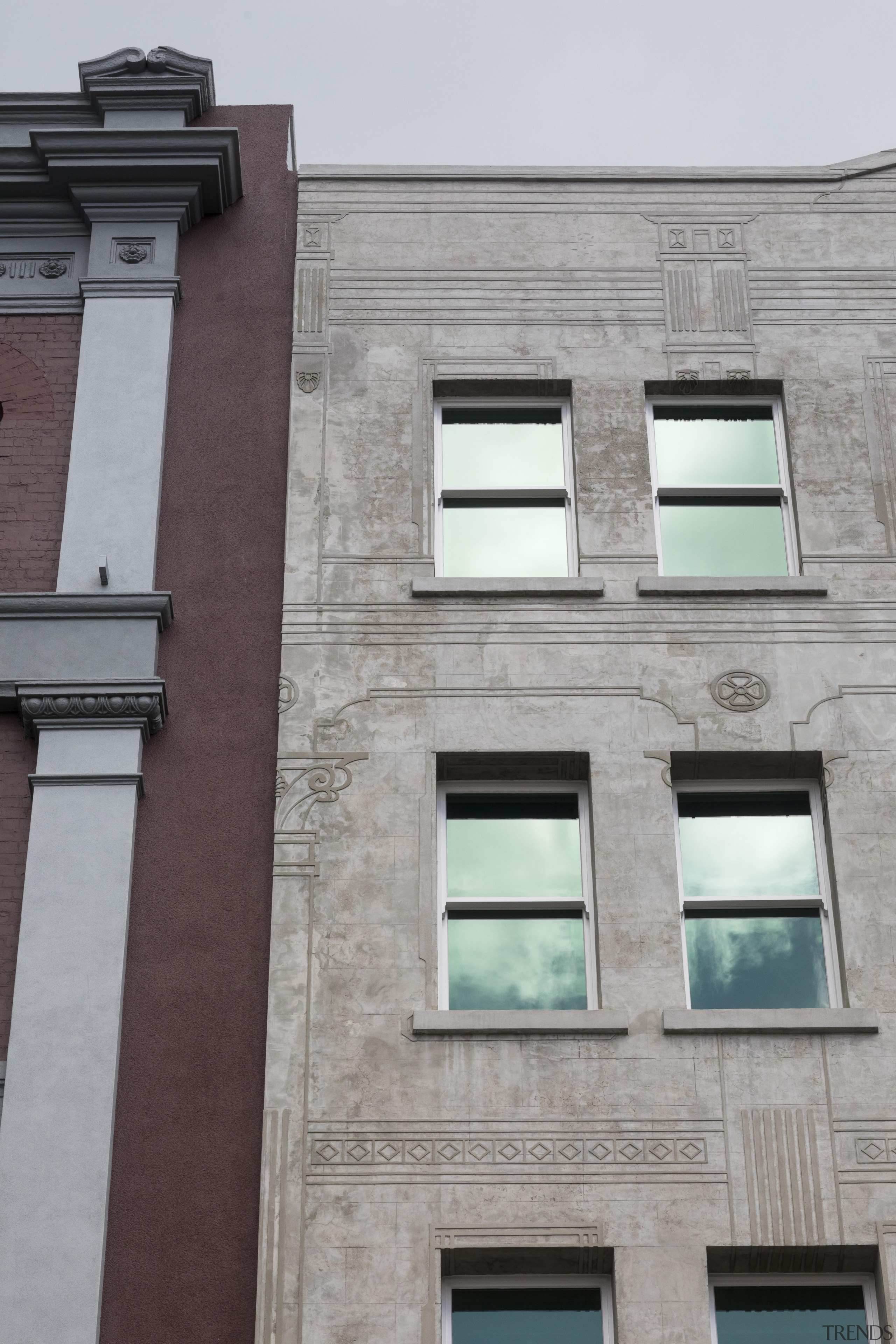 Raised and flat  two buildings from nearly apartment, architecture, building, commercial building, condominium, daytime, facade, house, wall, window, gray