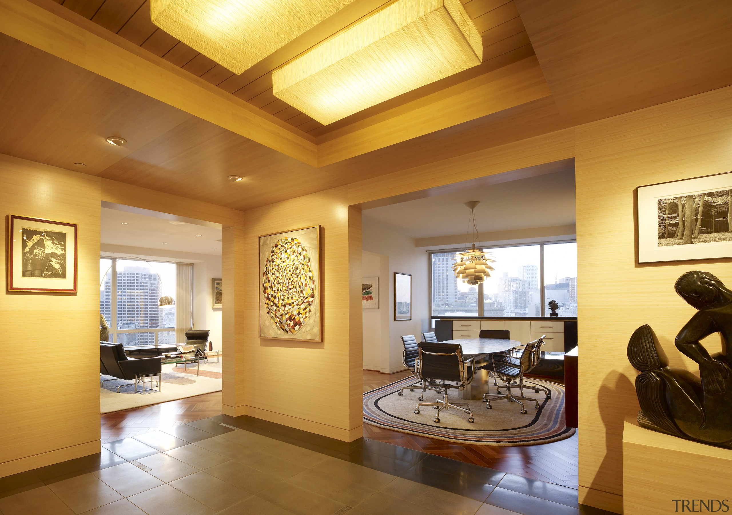 View of a remodeled kitchen with platinum grey ceiling, estate, floor, flooring, hardwood, home, interior design, living room, property, real estate, room, wall, window, wood flooring, orange, brown