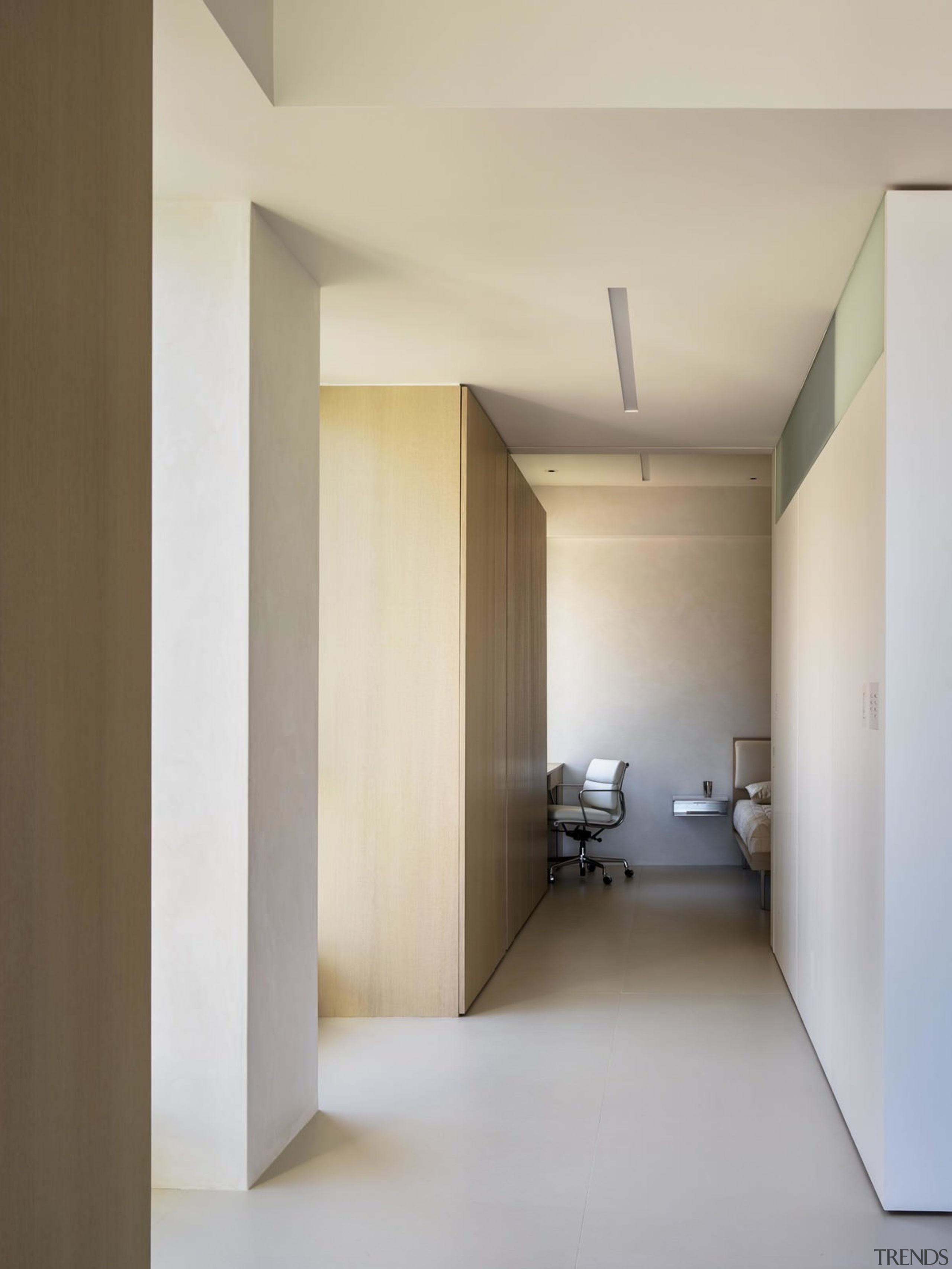 The minimal hallway allows the furniture to stand architecture, ceiling, daylighting, floor, house, interior design, real estate, gray