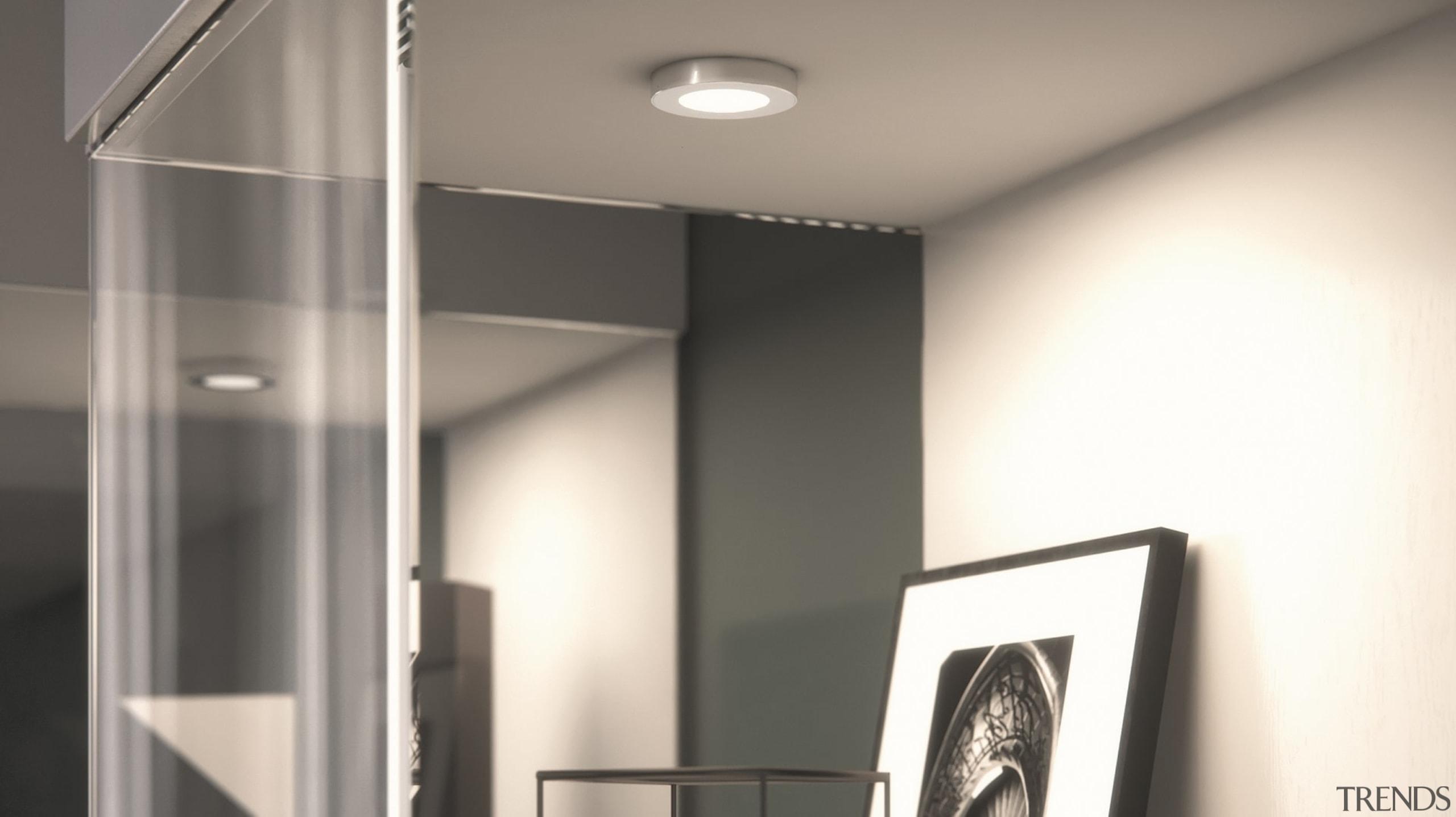 DOMUS LINE Atom 24Vdc Spotlight with Straight Spacer ceiling, daylighting, interior design, lamp, light, light fixture, lighting, white, gray