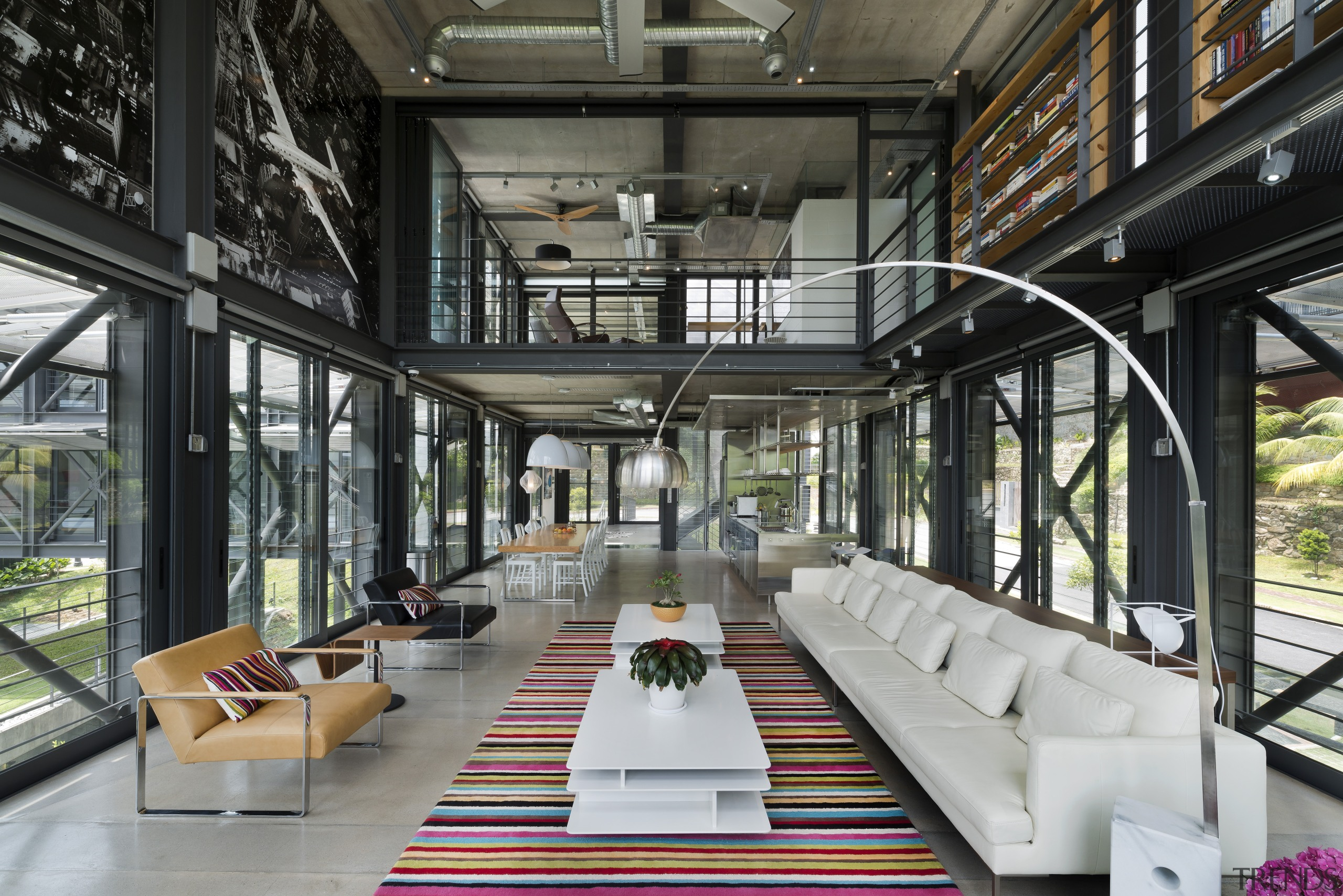 Transparency and an industrial aesthetic are two key interior design, black, gray