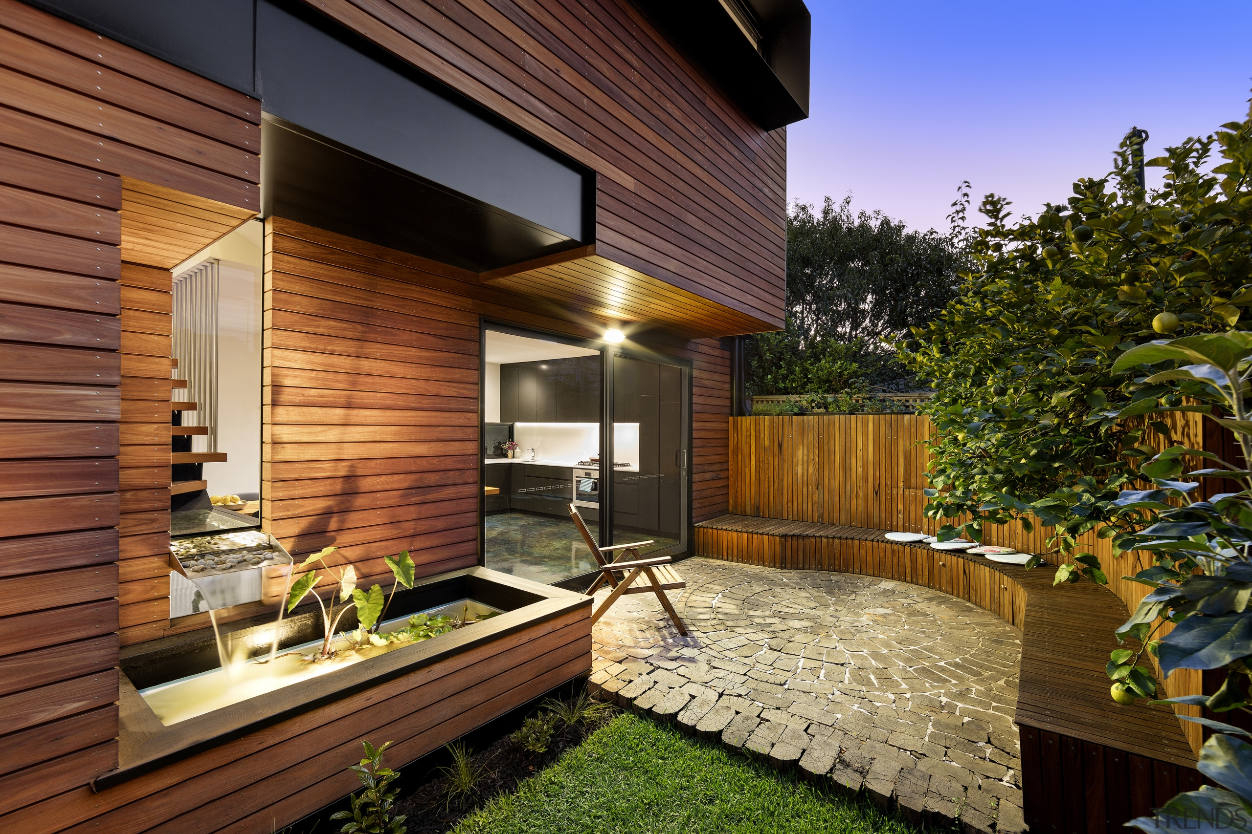 The challenge was fitting a two bedroom, two architecture, backyard, courtyard, deck, estate, facade, home, house, interior design, outdoor structure, property, real estate, residential area, roof, siding, wood, yard, brown