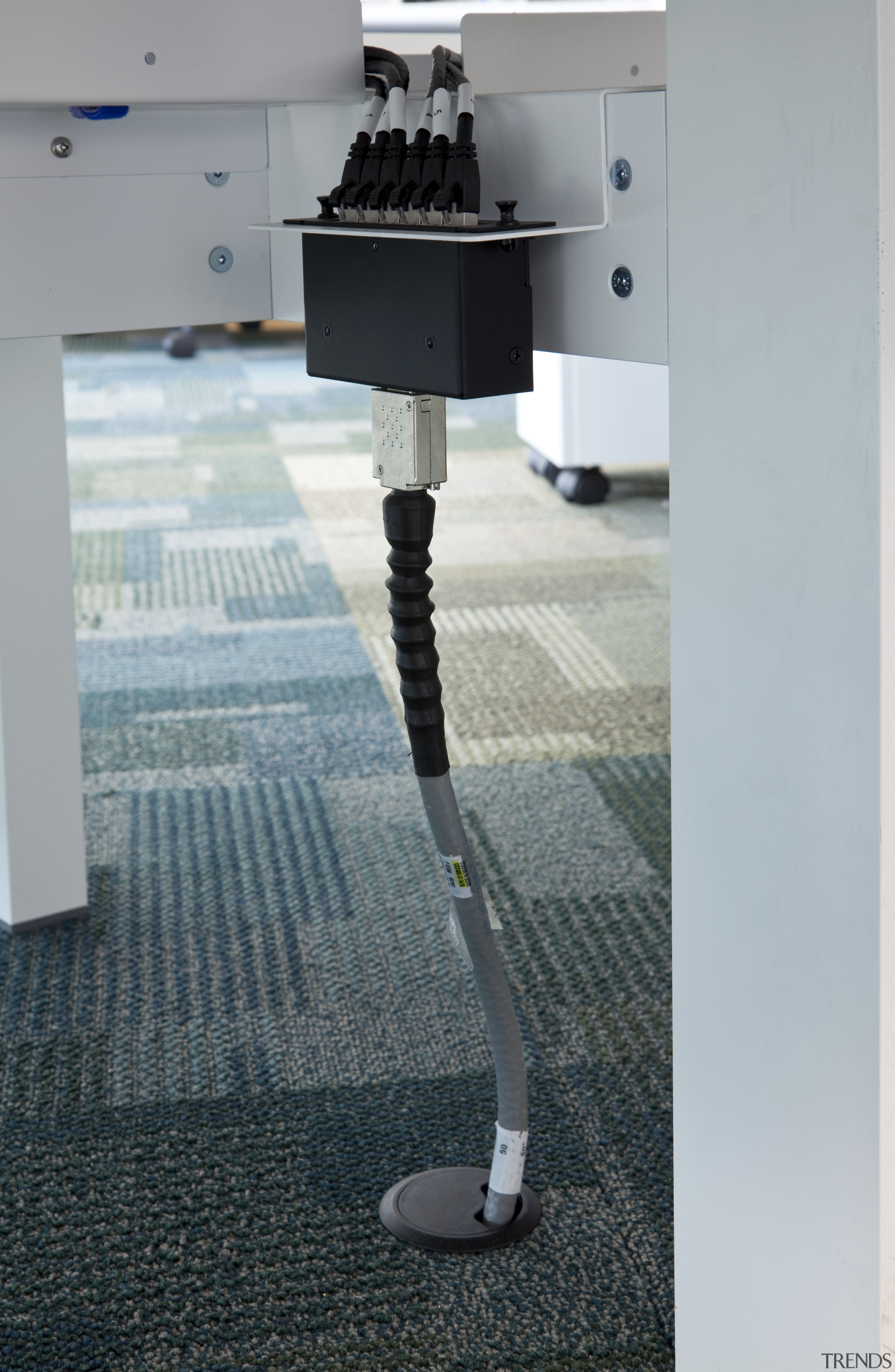 View of data communications system at Mercury Energy floor, flooring, product design, gray