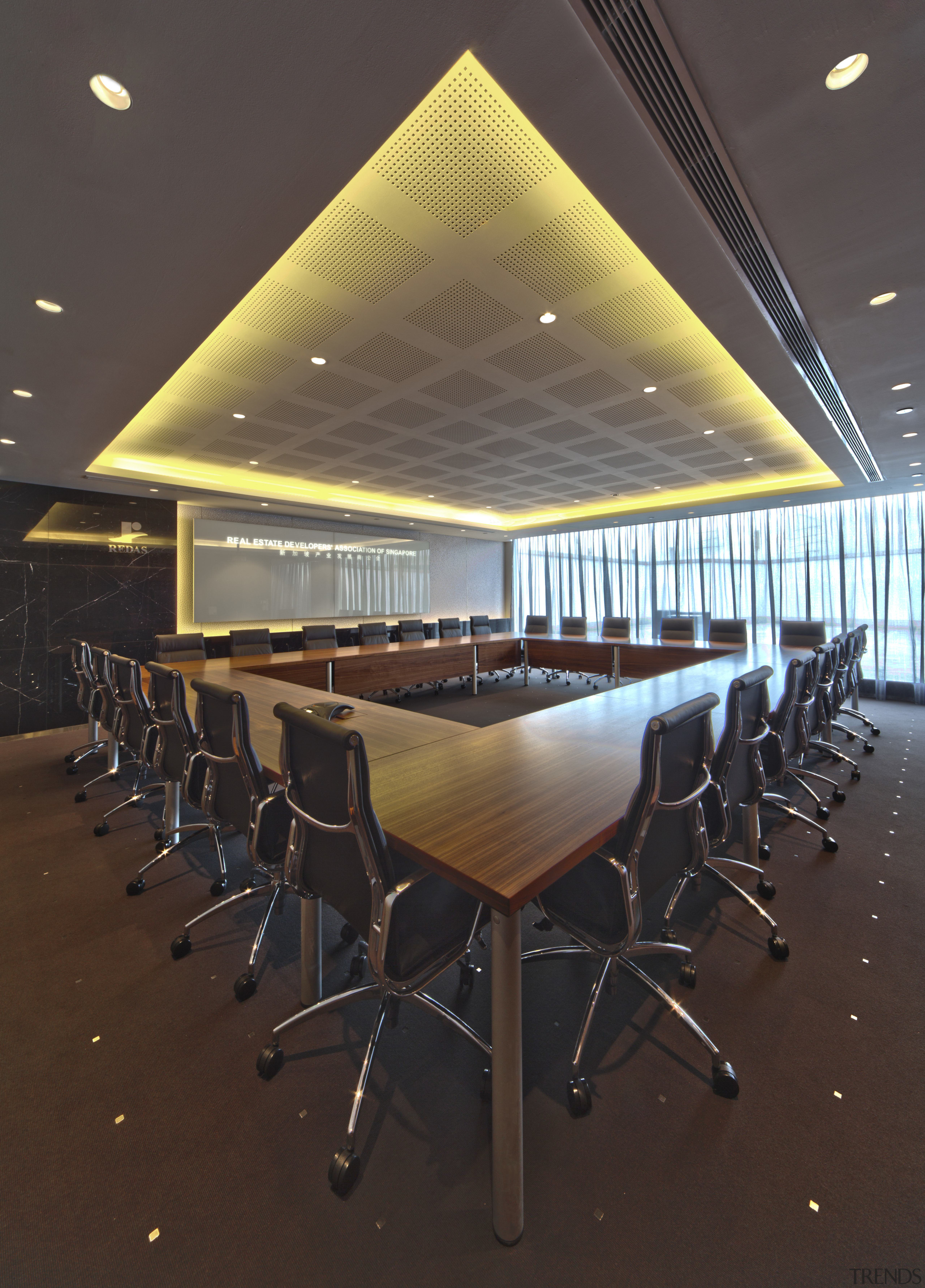 Contemporary offices of  the Real Estate Developer's architecture, auditorium, ceiling, conference hall, furniture, interior design, lighting, table, brown