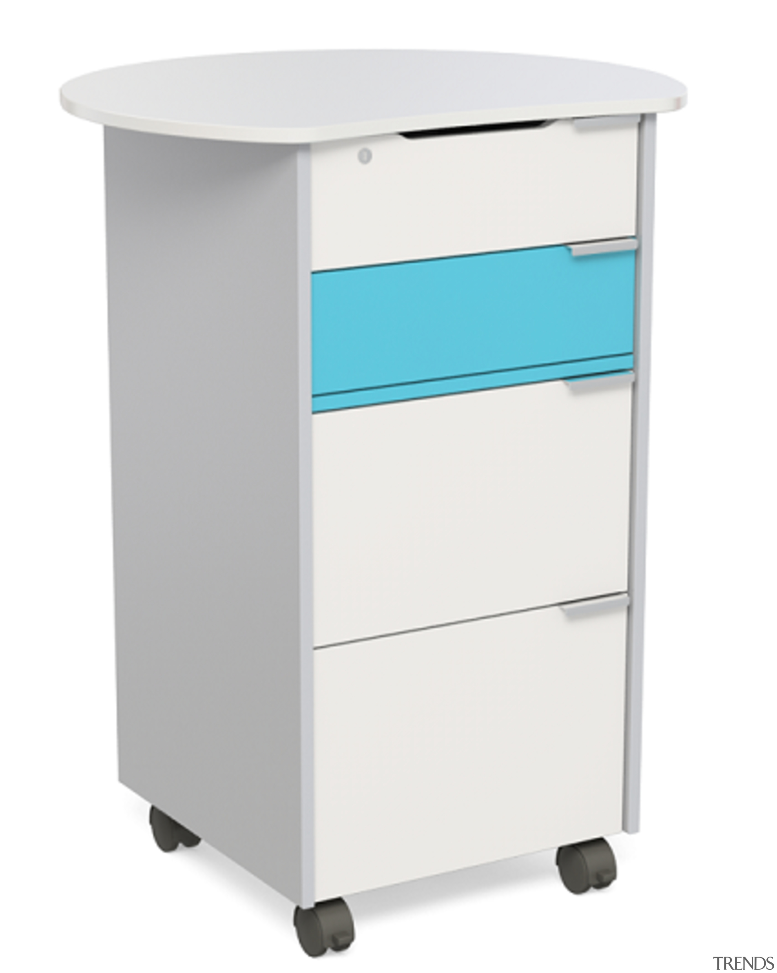 This mobile Teacher's Hub was designed by Furnware angle, chest of drawers, crash cart, drawer, filing cabinet, furniture, product, white
