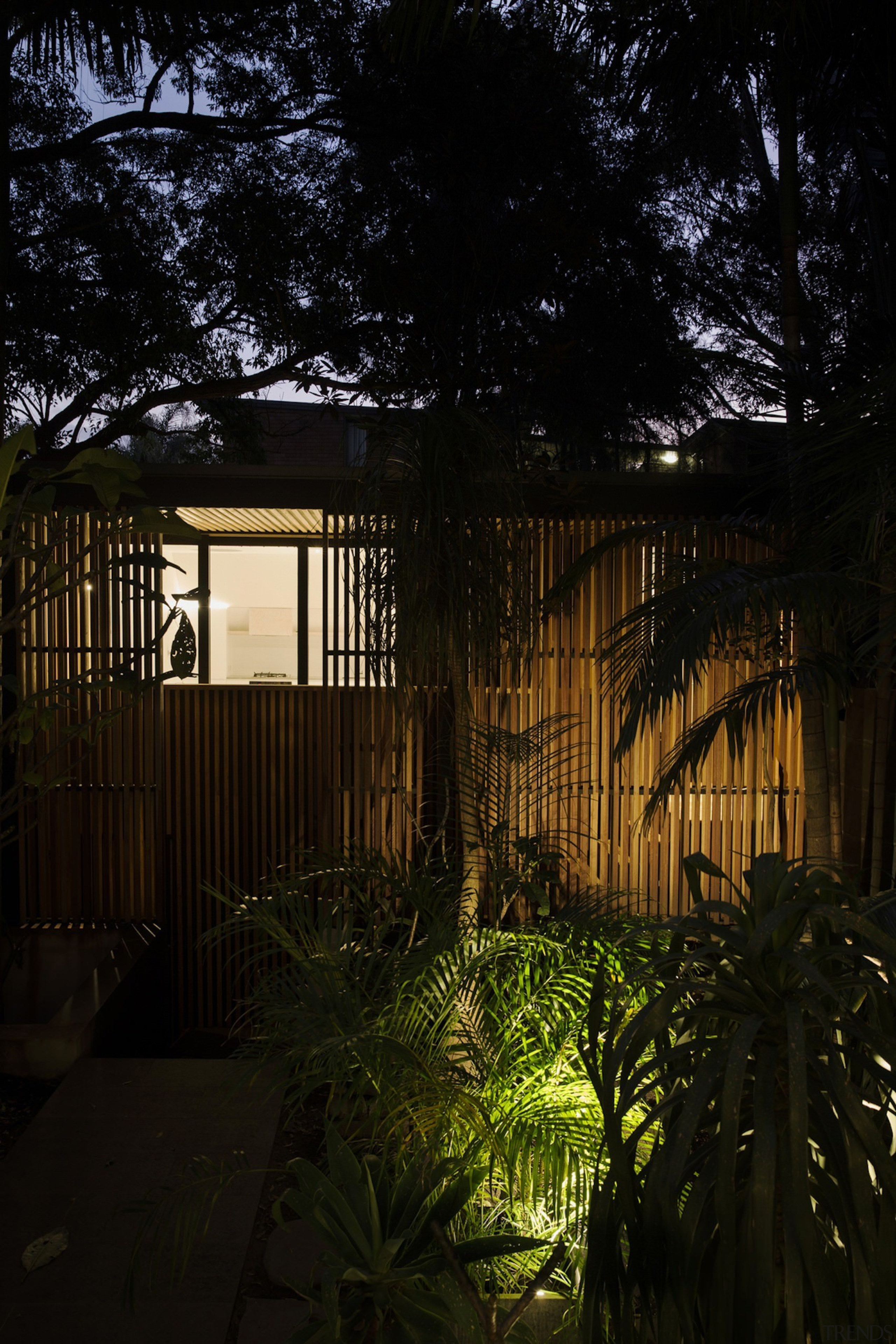 Architect: Architect PrineasPhotography by Chris Warnes architecture, arecales, cottage, evening, facade, home, house, landscape lighting, leaf, light, lighting, night, outdoor structure, plant, real estate, residential area, sunlight, tree, window, wood, black