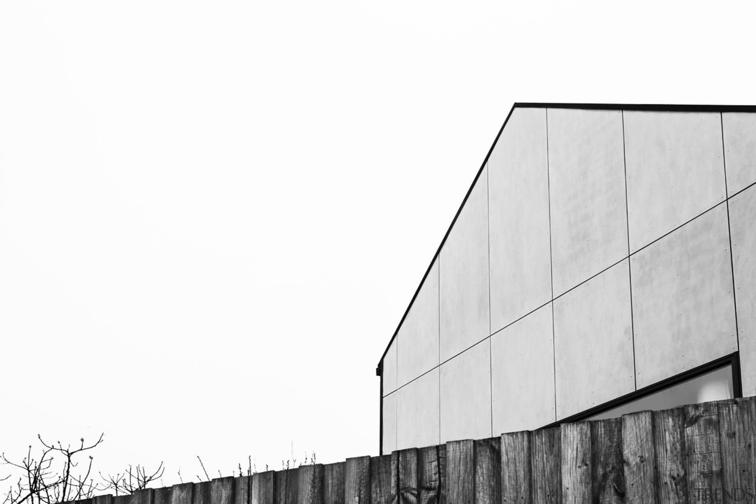 The traditional gable form, given a contemporary overhaul angle, architecture, black and white, building, daytime, facade, house, line, monochrome, monochrome photography, photography, roof, sky, structure, wall, wood, white