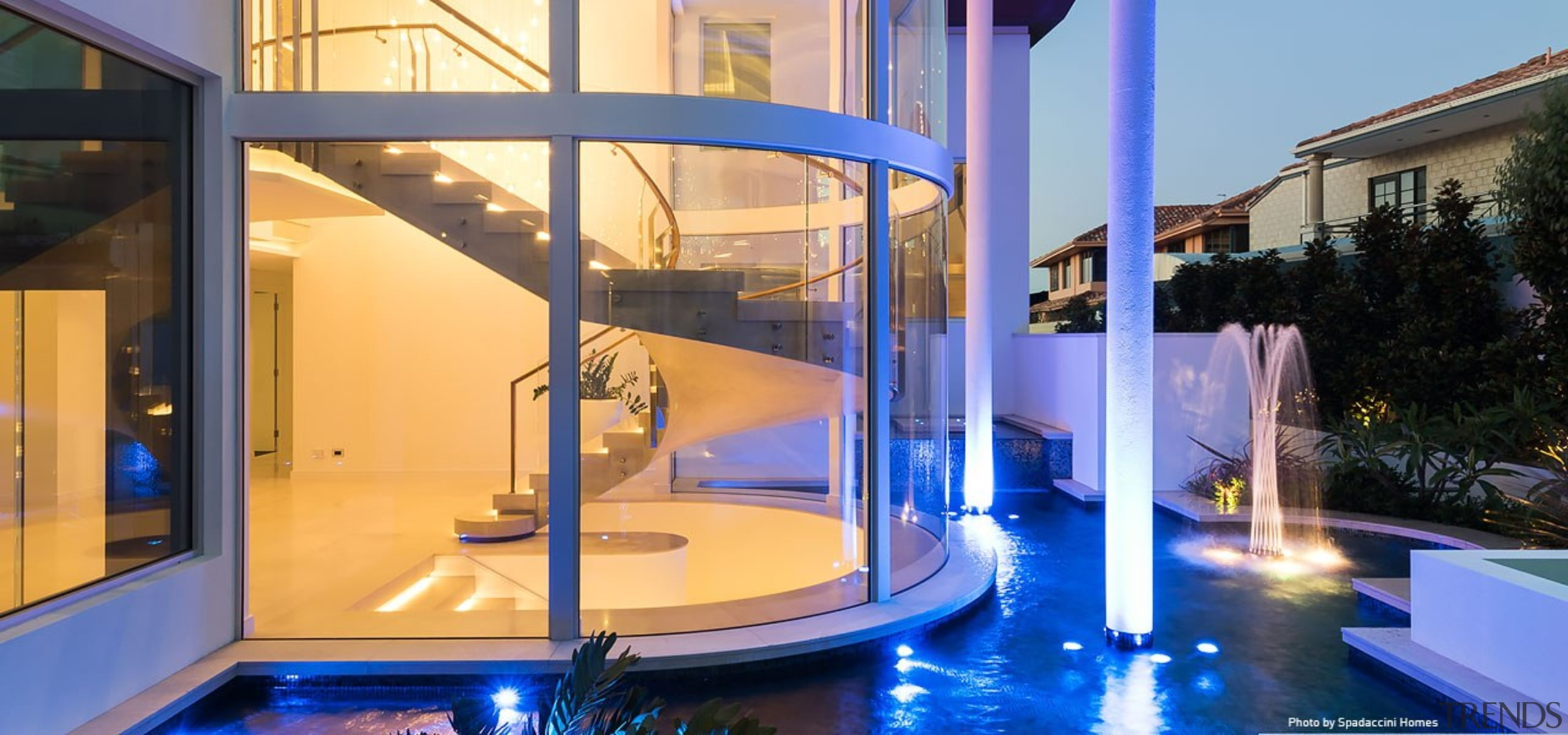 Sorrento Residence 3 - architecture | building | architecture, building, glass, home, house, interior design, leisure, property, real estate, swimming pool, water feature, orange, blue