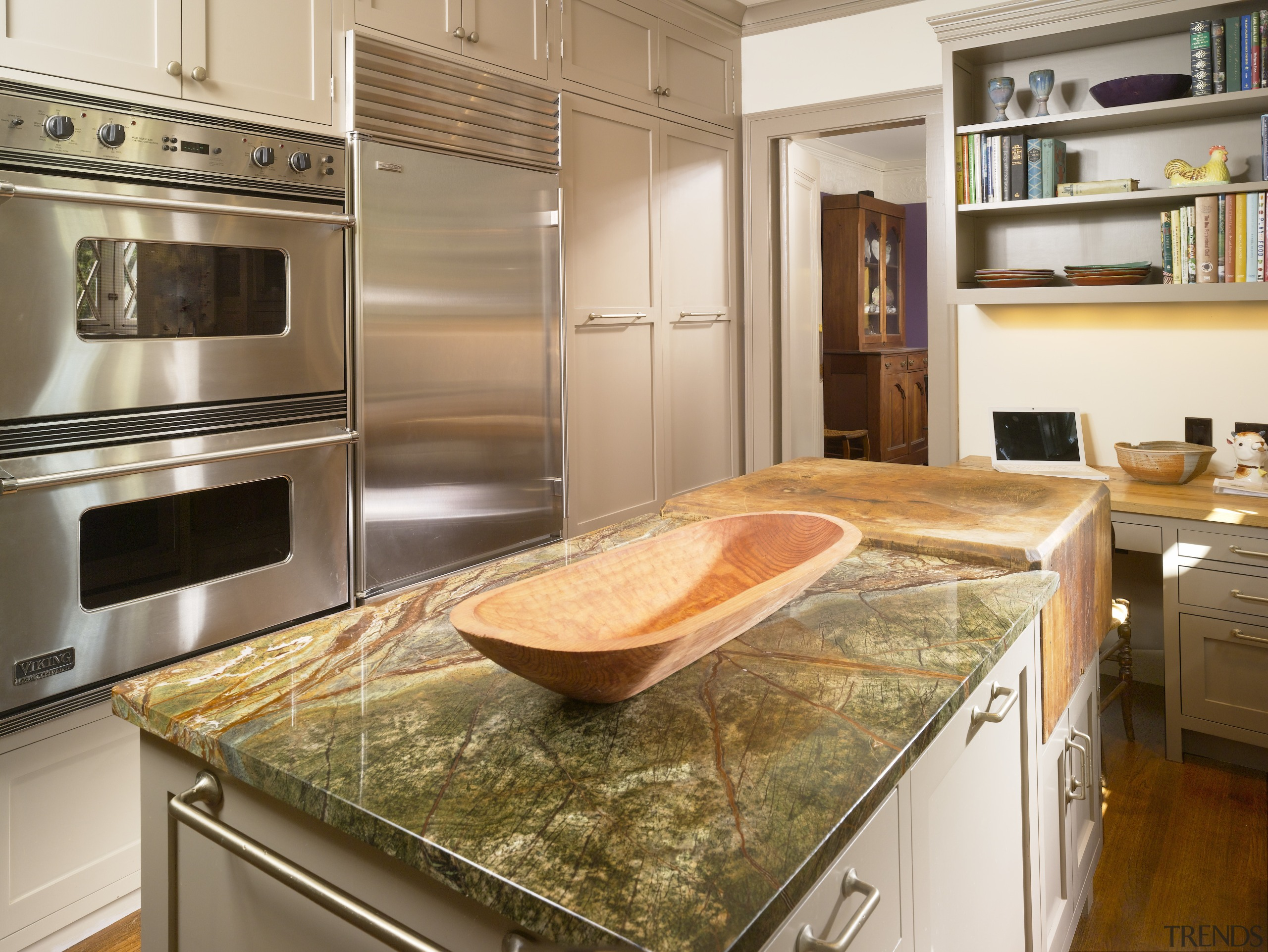 View of remodeled kitchen with rainforest green marble cabinetry, countertop, cuisine classique, home appliance, interior design, kitchen, kitchen appliance, brown