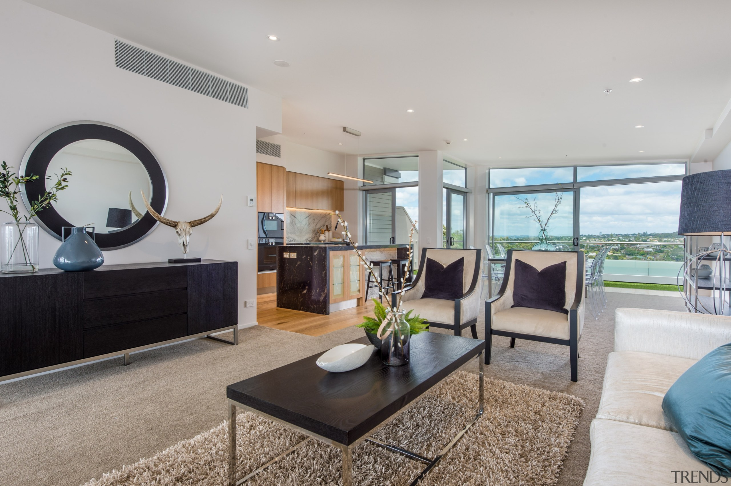 Dining and living area with seaview - Dining home, interior design, living room, property, real estate, gray