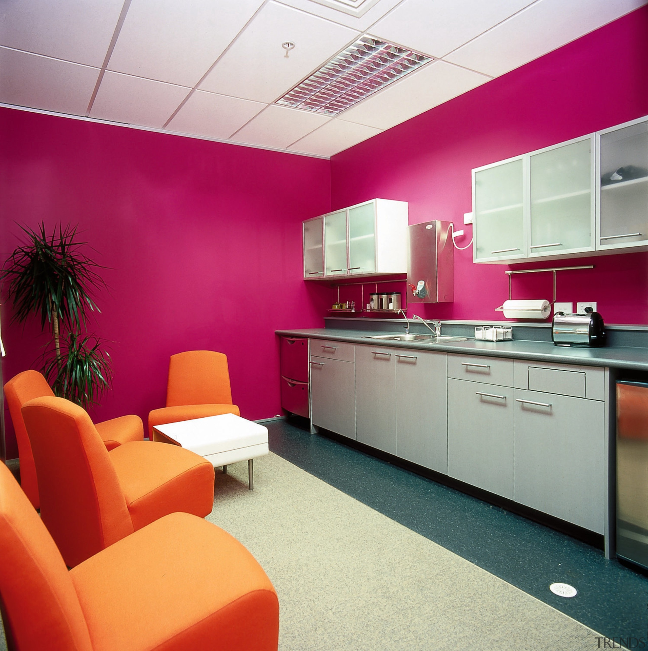 Office Kitchen Area With Pink Walls Gallery 1 Trends