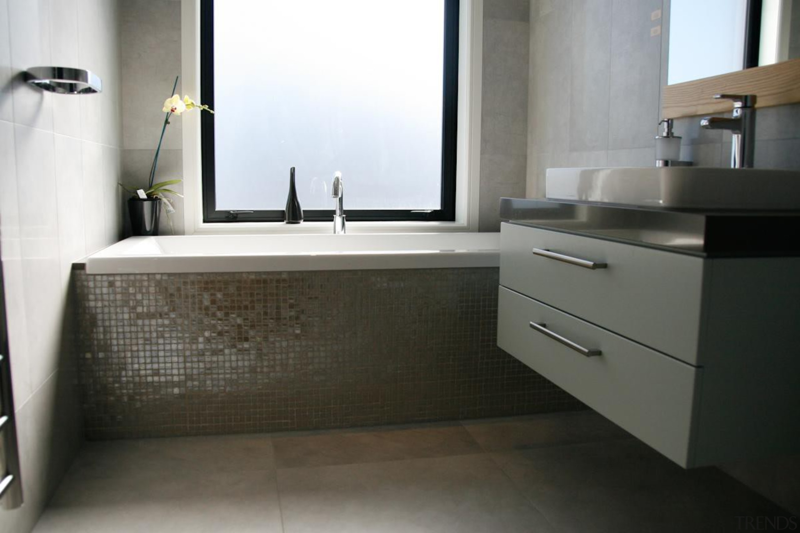 vetro silver lux tiled bath and graffiti cenere bathroom, bathroom accessory, bathroom cabinet, countertop, floor, interior design, product design, room, sink, tap, black, gray, white