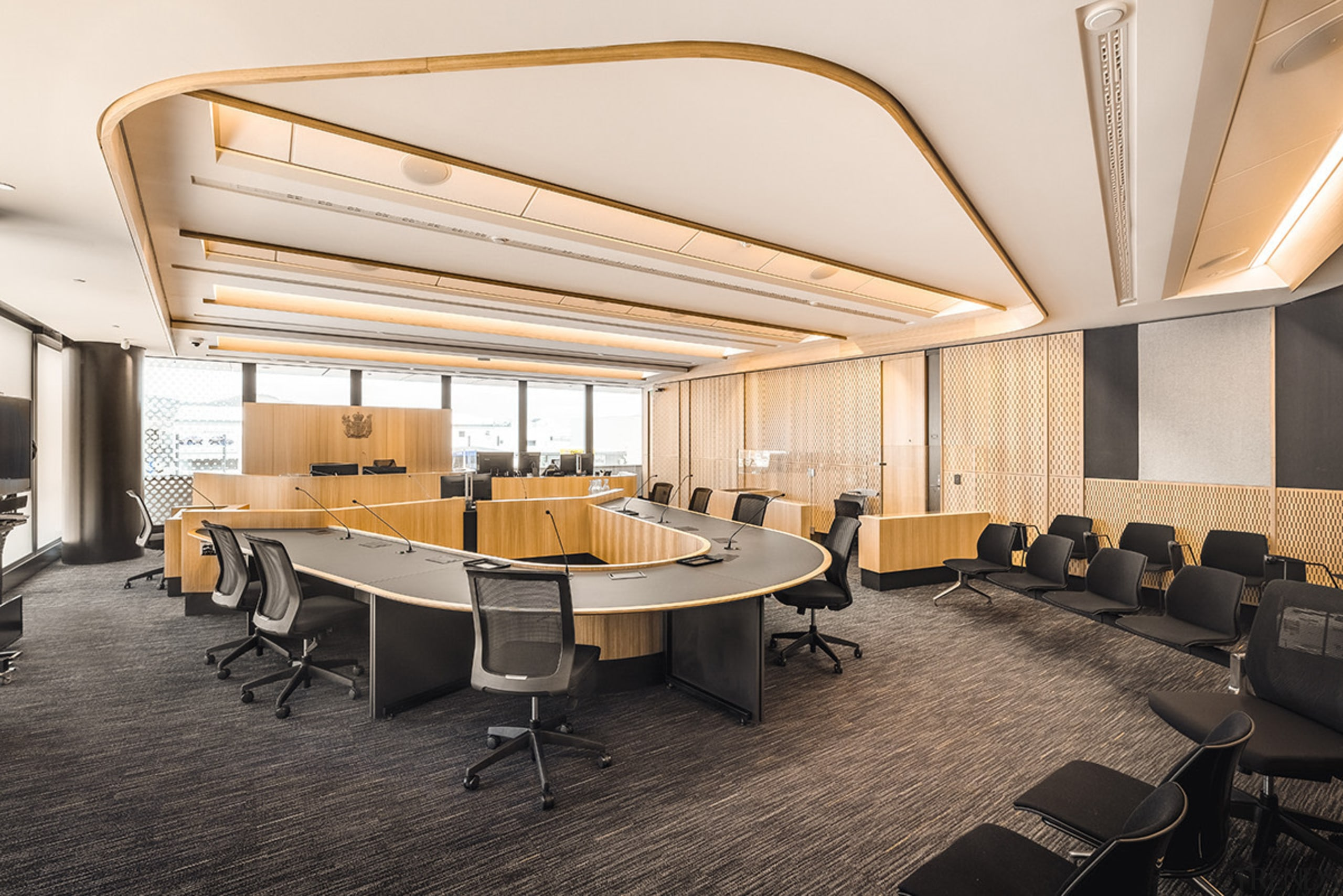 The Youth Court at the Christchurch Justice & ceiling, conference hall, furniture, interior design, office, table, white